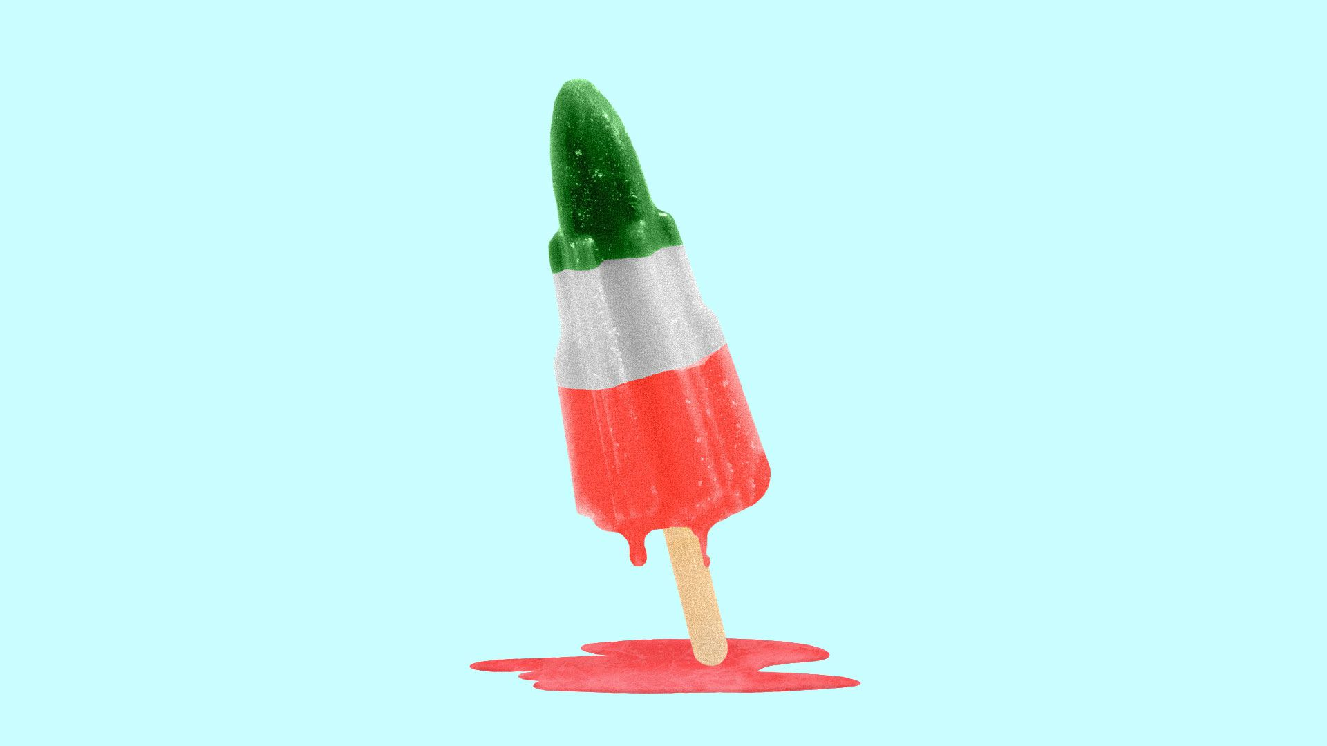 Illustration of a melting popsicle made up of the Iranian flag colors
