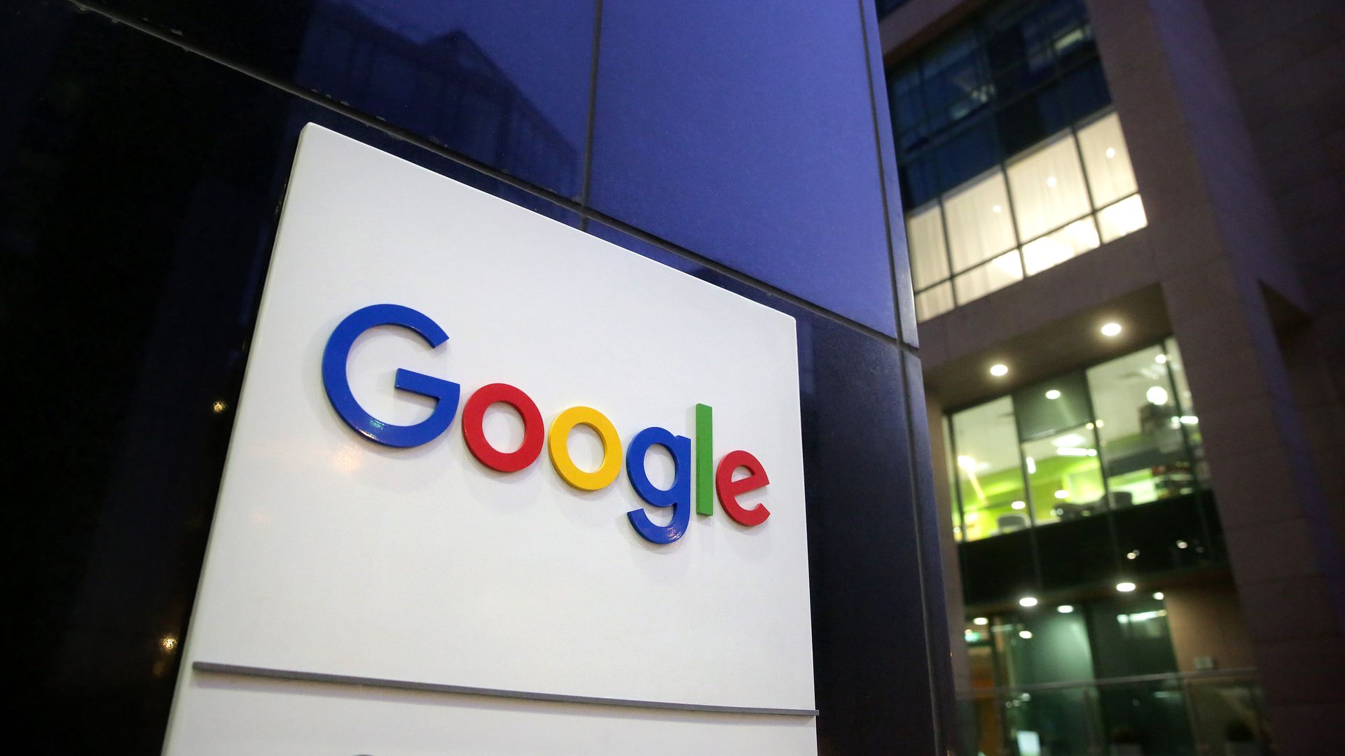 A sign with the Google logo