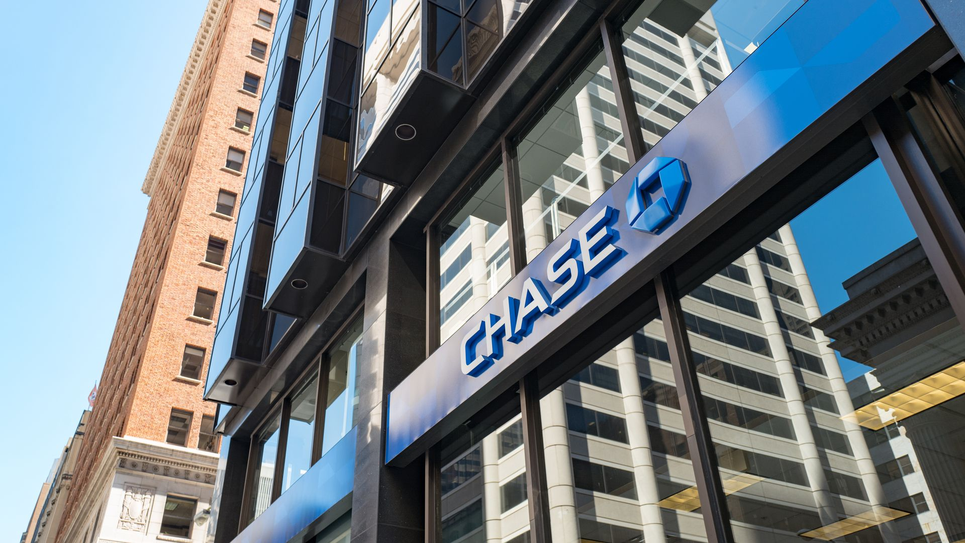 Signage with logo for Chase Bank in the Financial District neighborhood of San Francisco.
