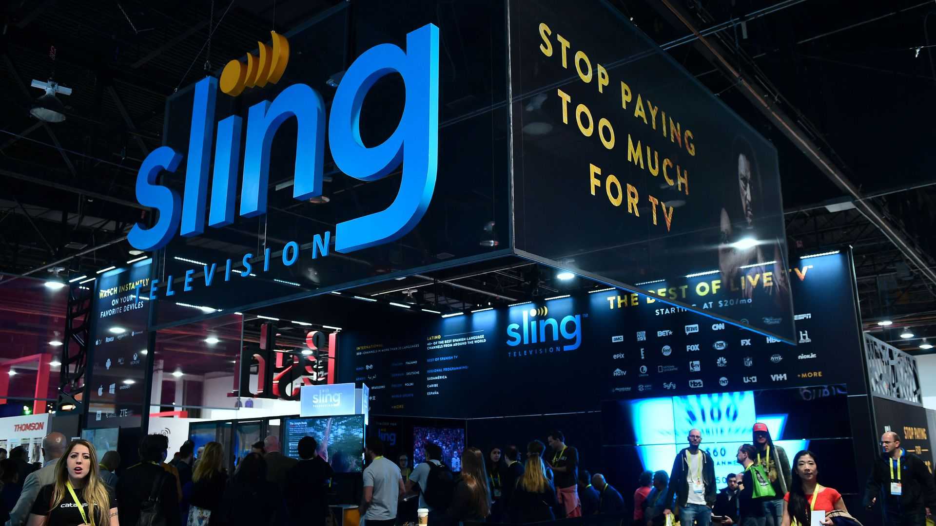 A sign with the Sling Television logo at a conference