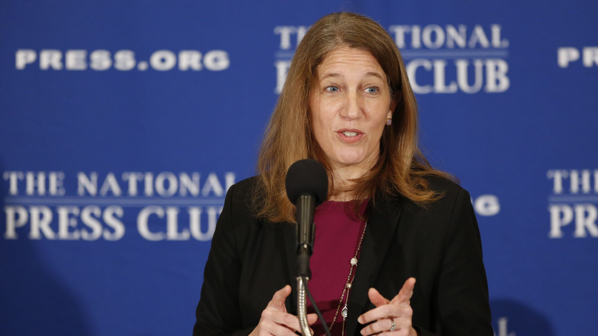 Former HHS Secretary Sylvia Mathews Burwell speaks at an event.