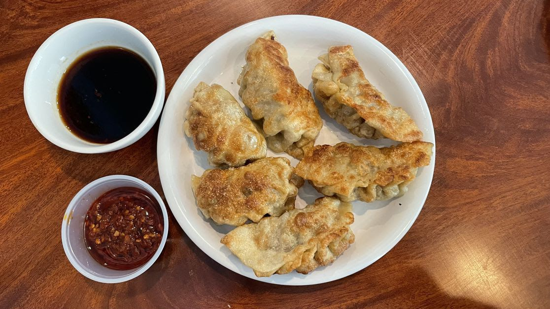 Pan-fried potstickers from Wong's Chopsticks in Johnston, Iowa.