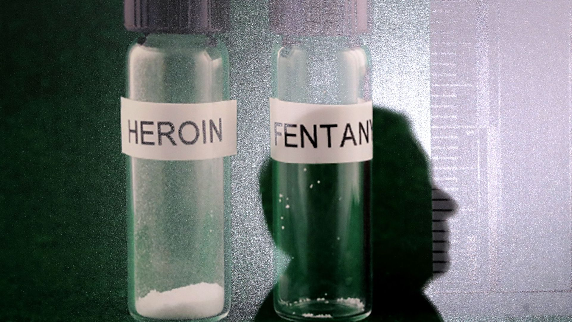 Jars of heroin and fentanyl
