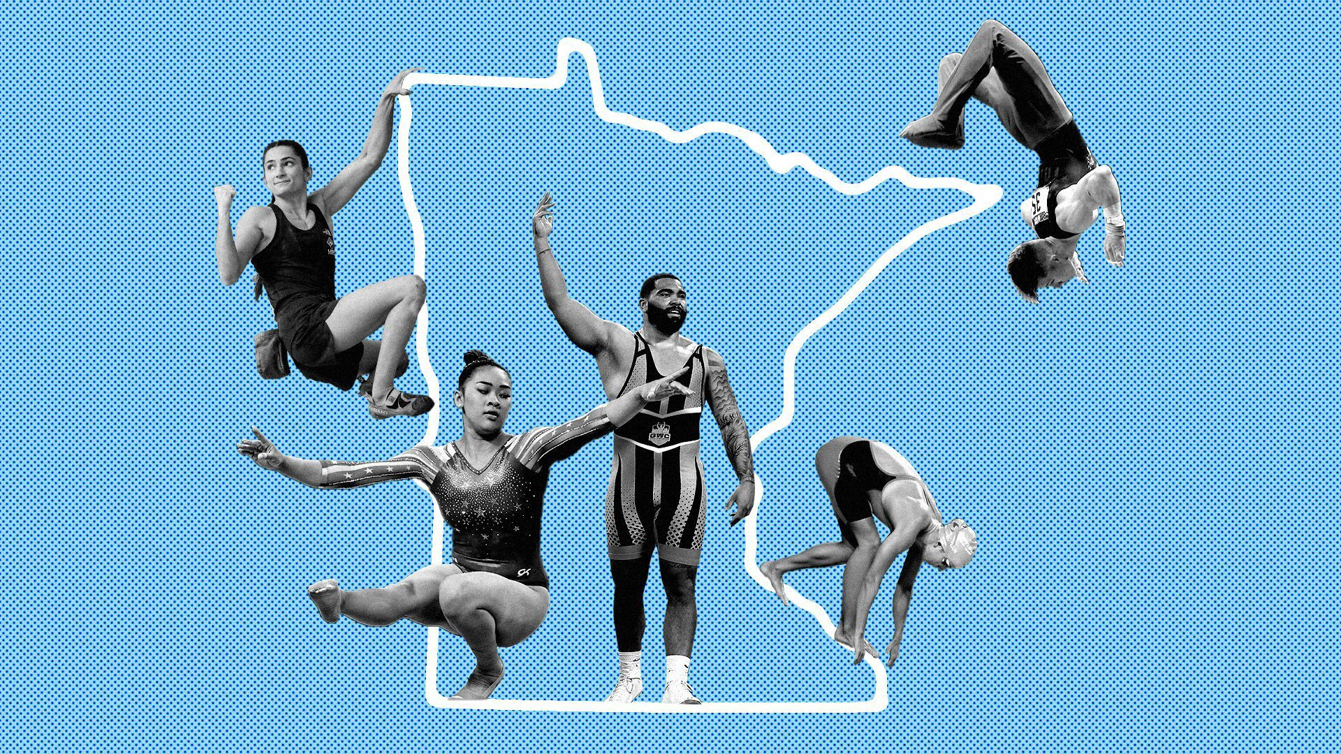Photo illustration of numerous Olympic athletes from Minnesota set against the state's shape