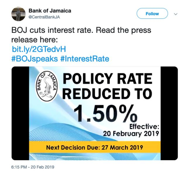 The Bank of Jamaica's rate cut announcement on Twitter.