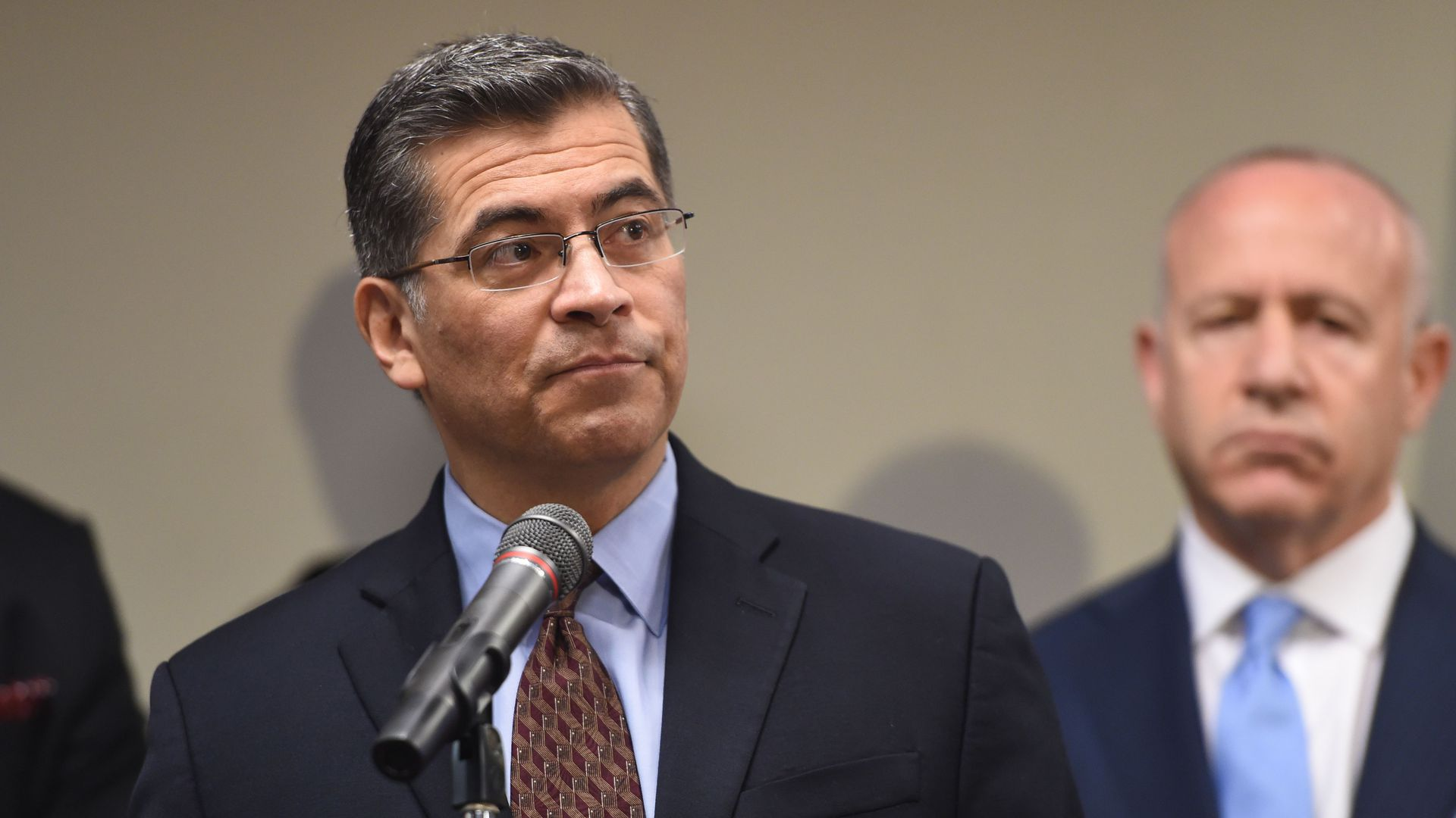 California Attorney General Xavier Becerra speaks at a press conference