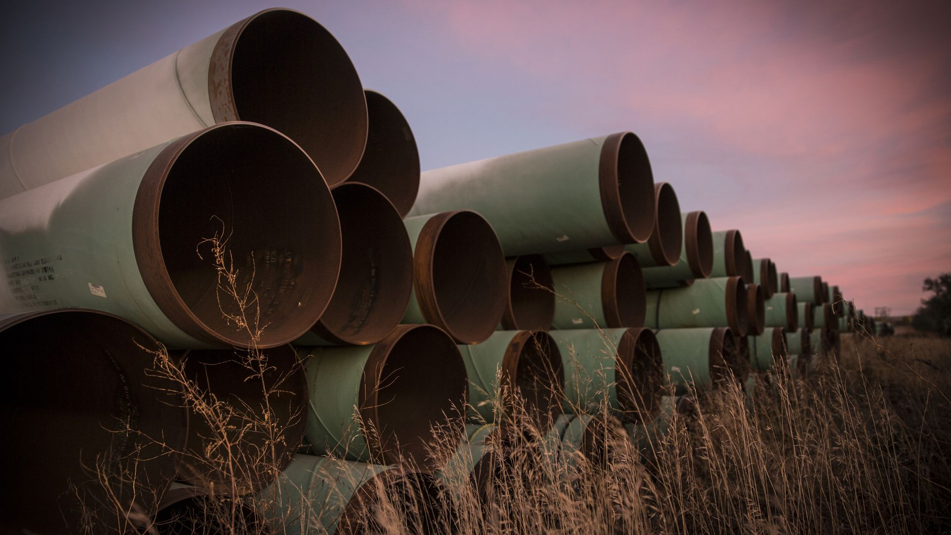 Miles of unused pipe, prepared for the proposed Keystone XL pipeline.