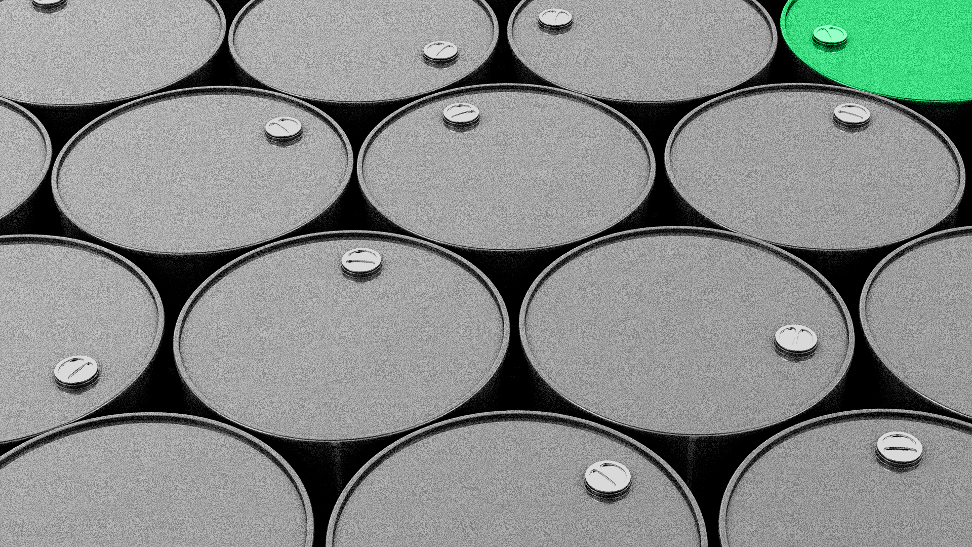 Illustration of a collection of oil barrels, with one green one.