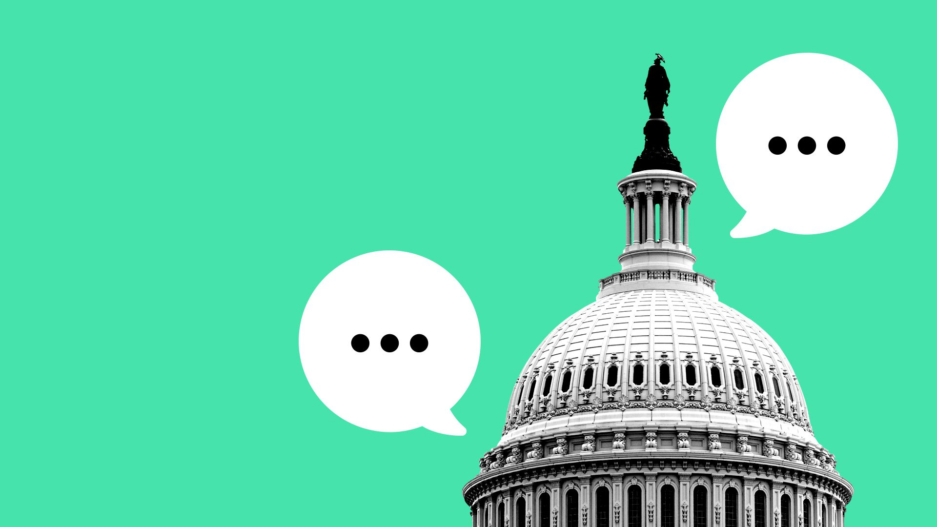 Illustration of congress with empty speech bubbles