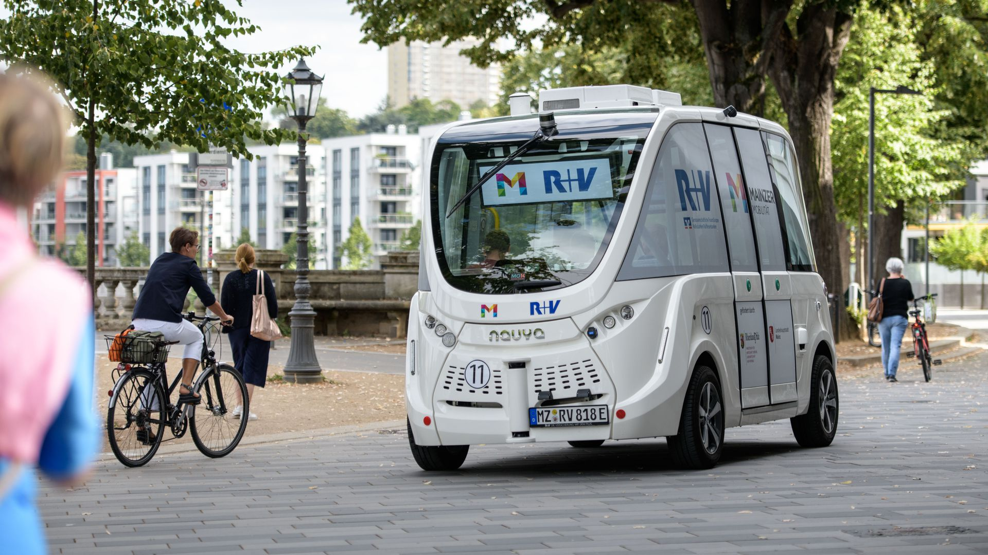 An electric autonomous bus drives on August 14, 2018 in Mainz, Germany.