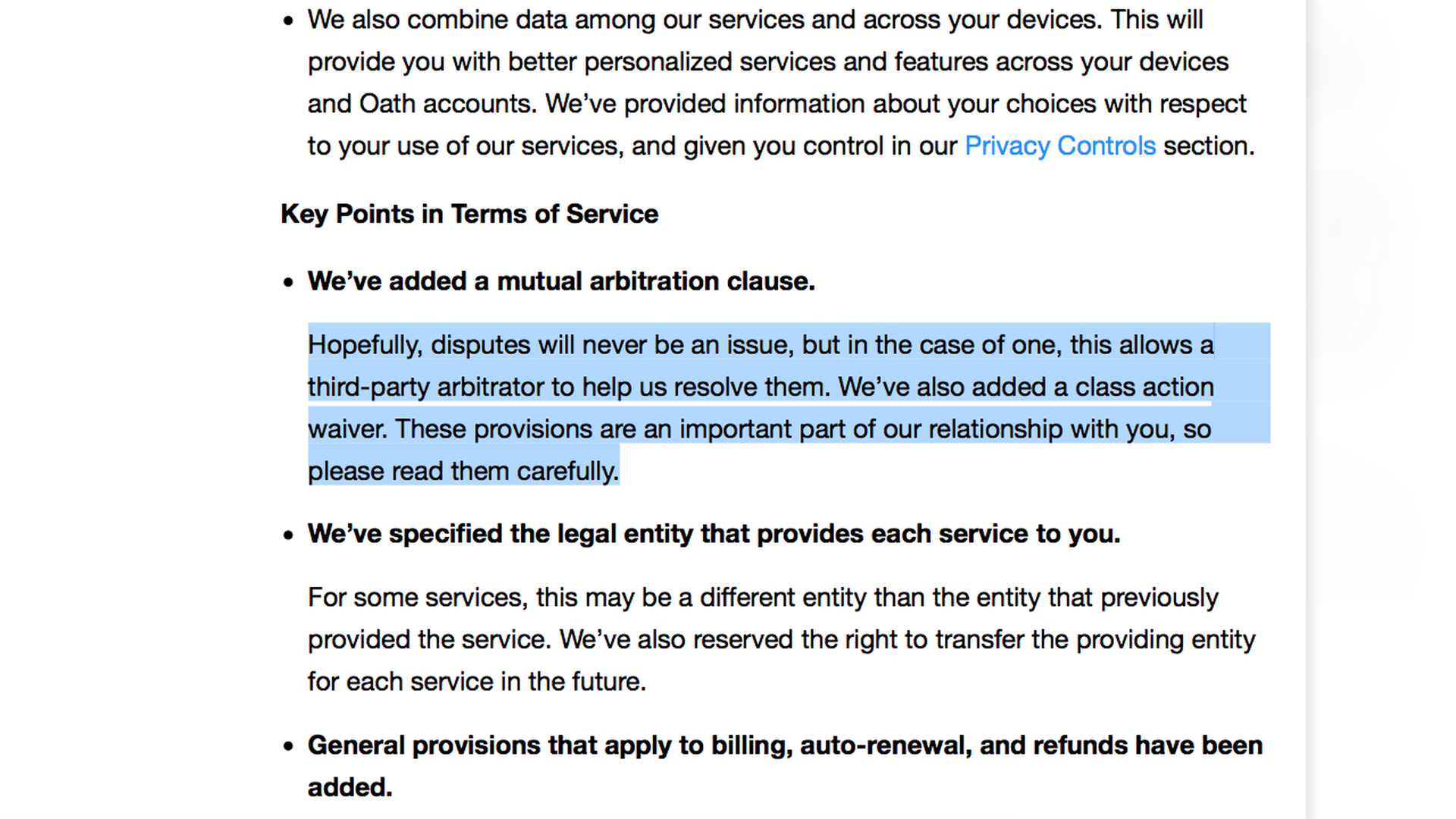 Oath's new terms of service forcing users to give up their class action lawsuit rights.