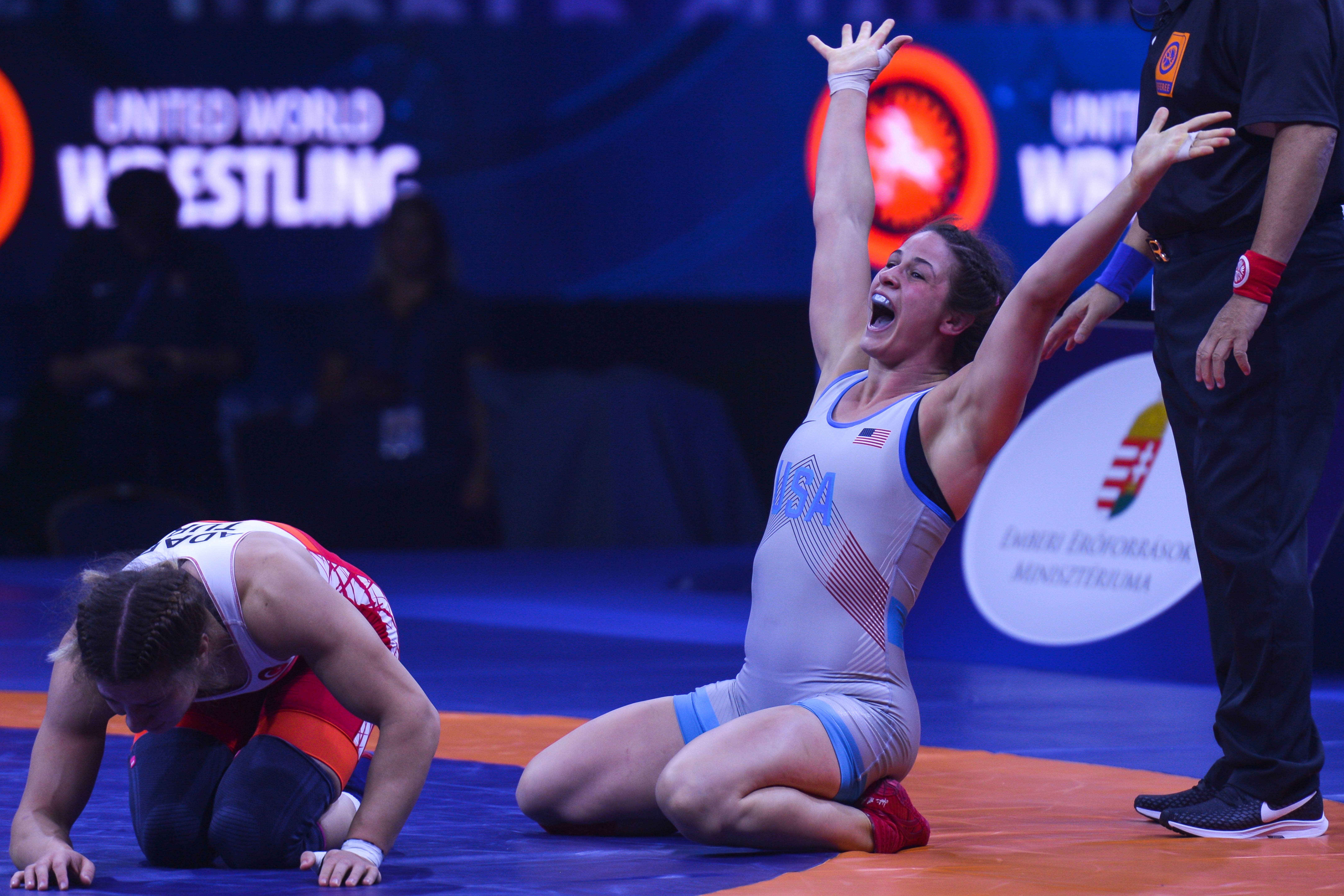 Adeline Gray, right, celebrates a world champion win in 2018. Photo: Artur Widak/NurPhoto via Getty Images