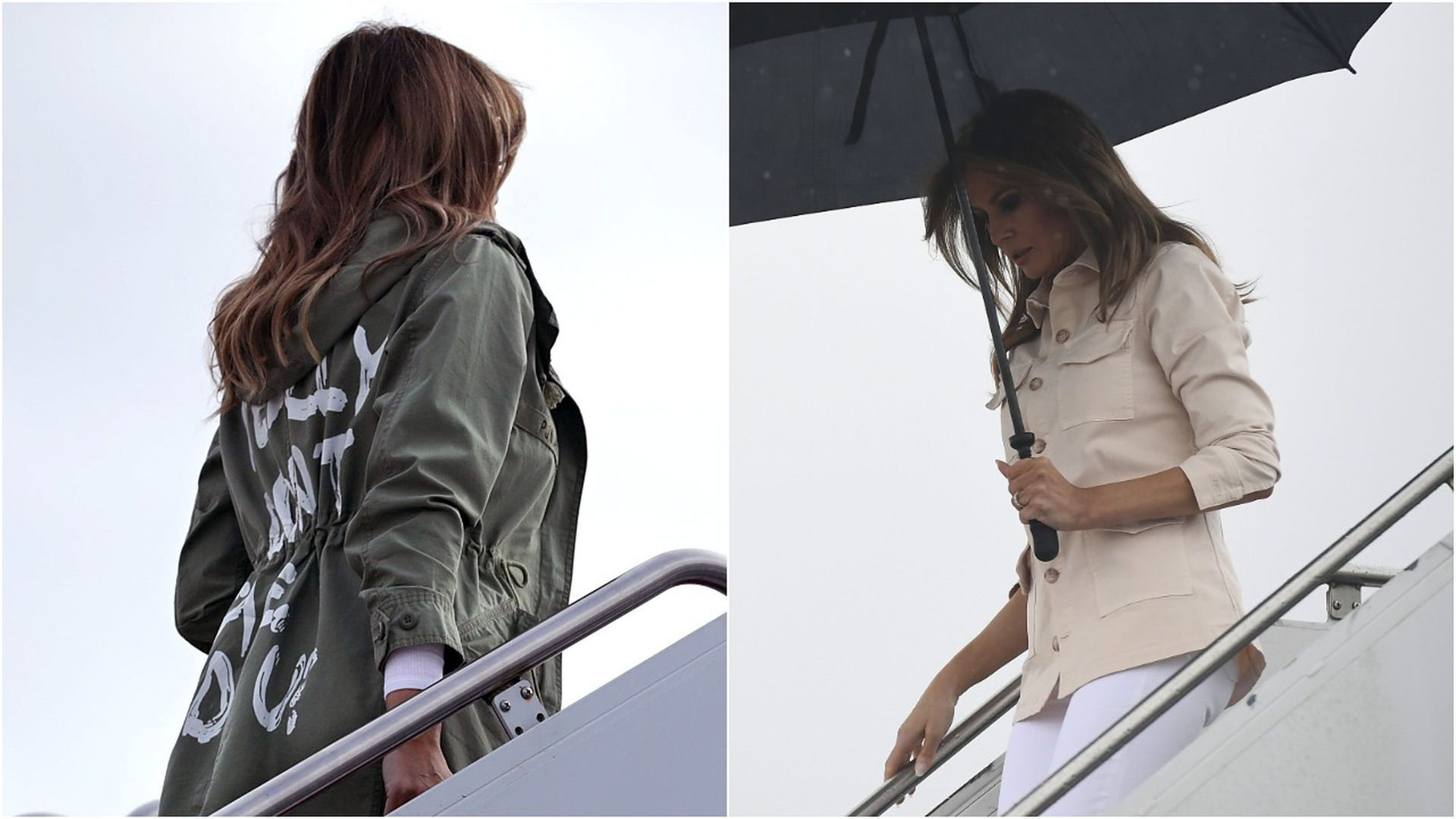 Melania Trump boarding and de-boarding the plane in different outfits.