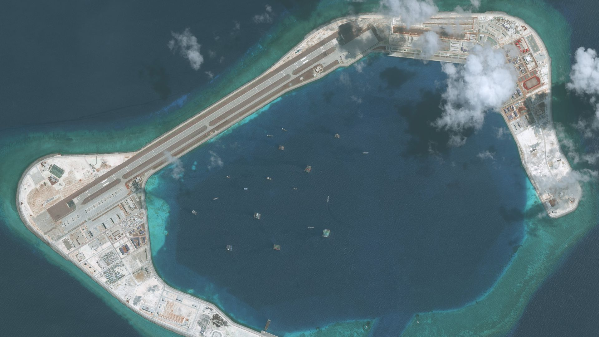 Imagery of the Subi Reef in the South China Sea, a part of the Spratly Islands group. Photo DigitalGlobe via Getty Images.