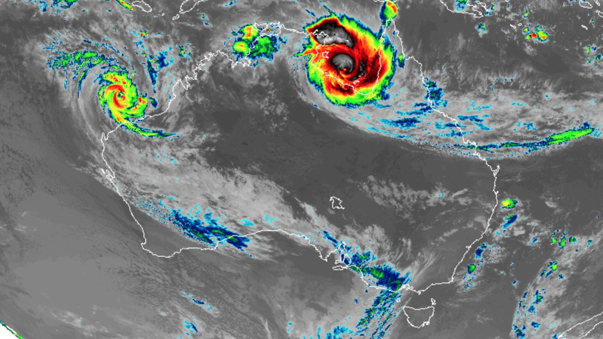 Satellite image showing two cyclones spinning off the Australian coast.