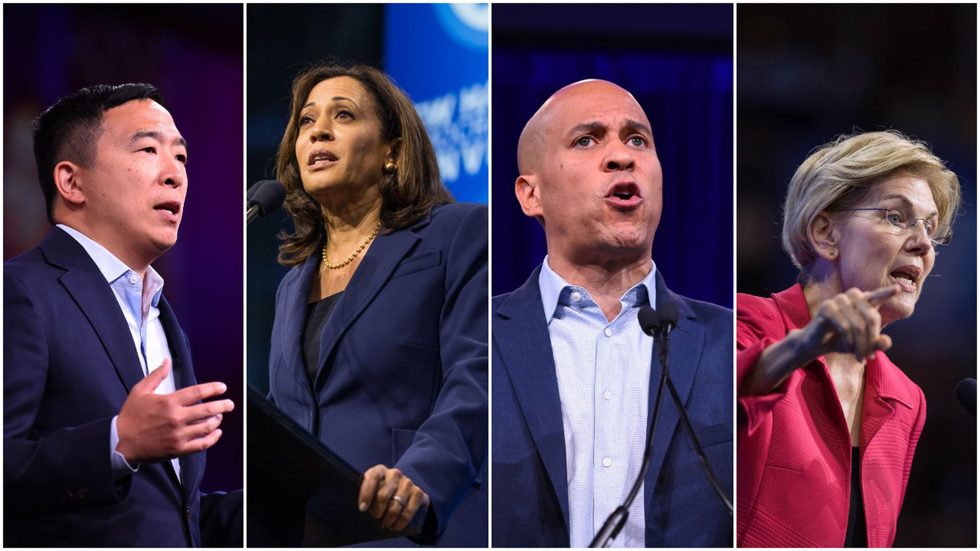 This image is a four-way split between Andrew Yang, Kamala Harris, Cory Booker, and Elizabeth Warren.