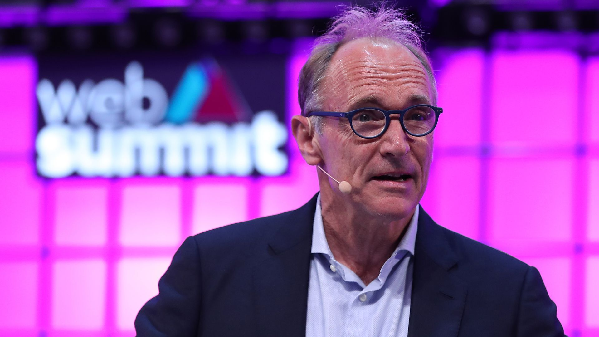 World Wide Web's Inventor and Web Foundation's Founding Director Tim Berners-Lee speaks during the Web Summit 2018 in Lisbon, Portugal on November 5, 2018.