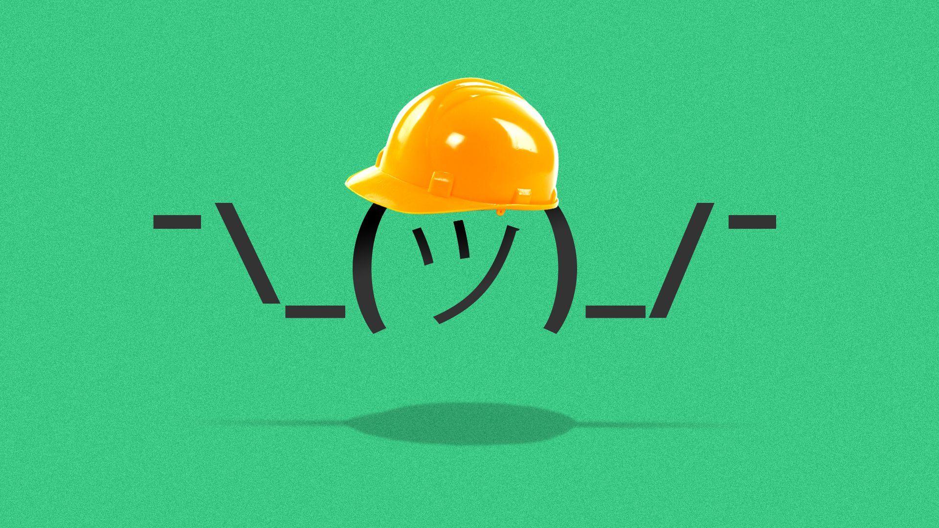 Illustration of a shrugging emoji wearing a hard hat.