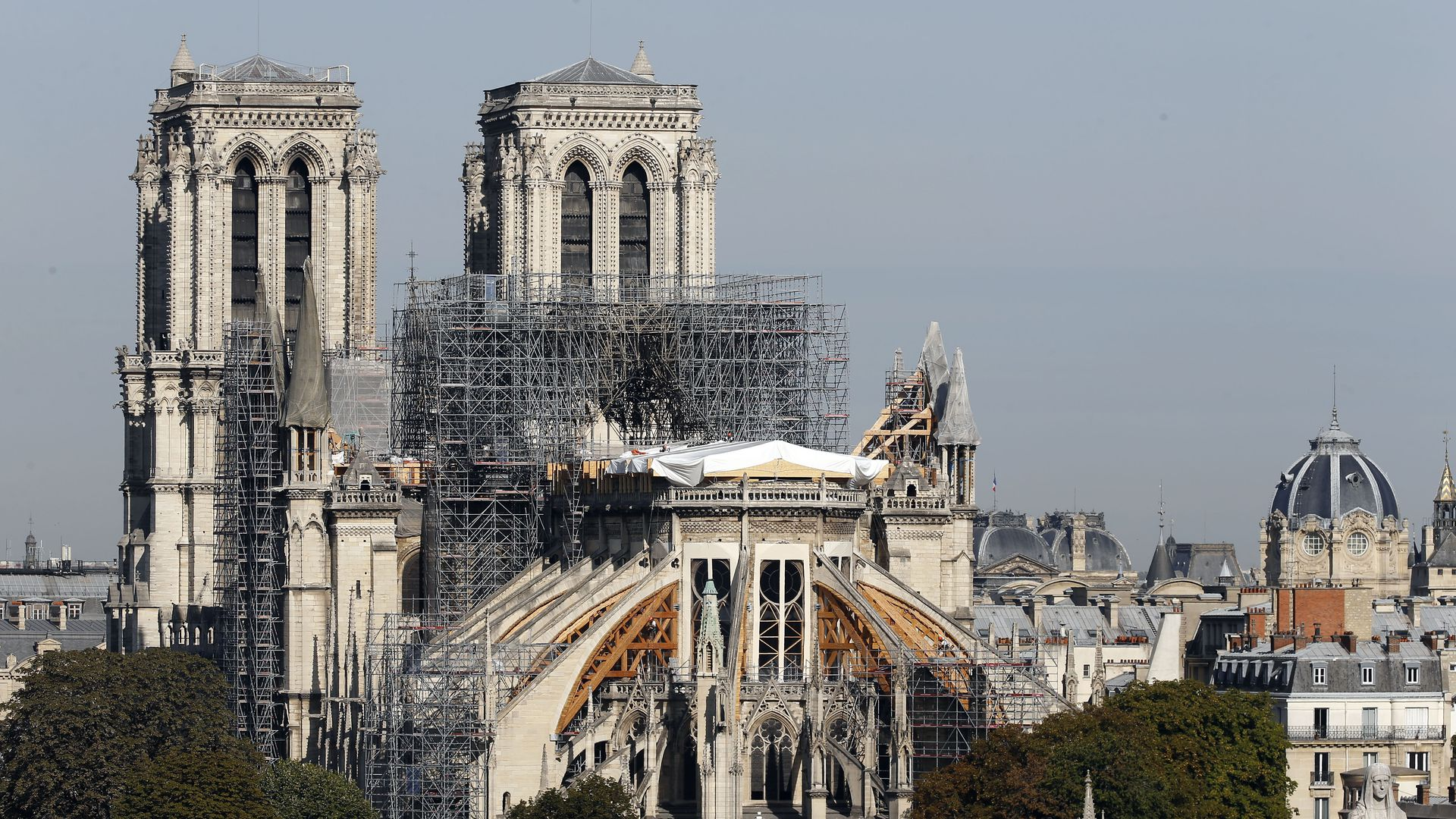 Notre Dame Cathedral during renovations