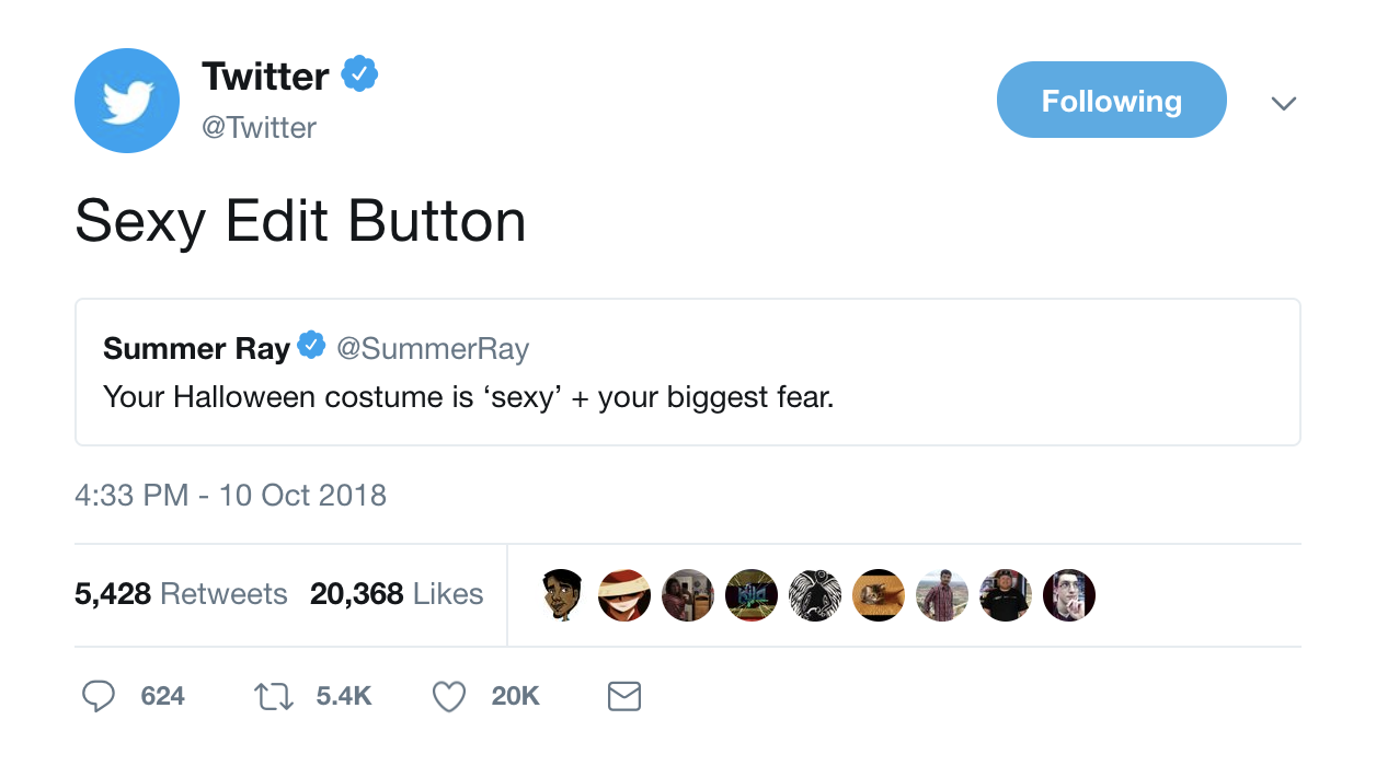 Twitter's twitter account describing its halloween costume