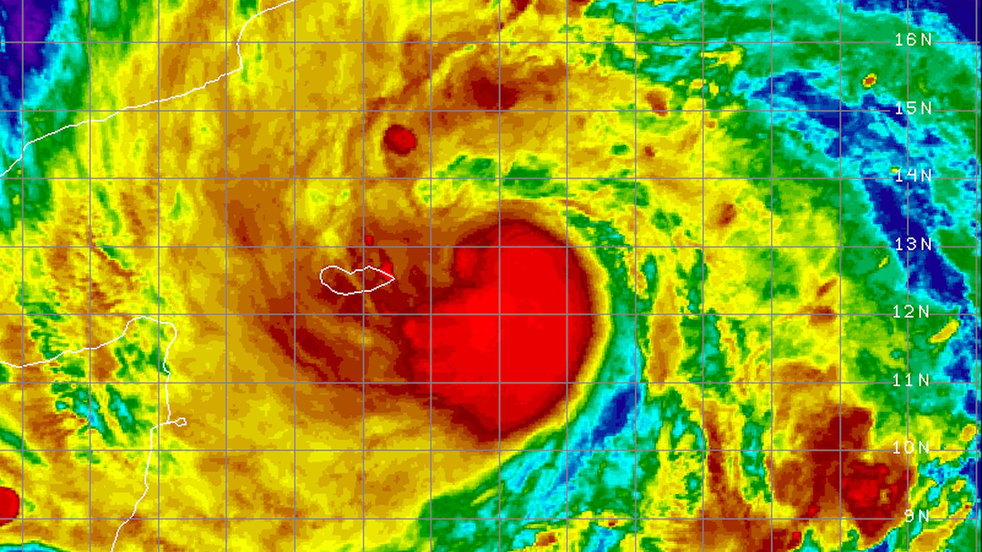 Satellite image of Tropical Cyclone Mekunu as it approaches Oman and Yemen on May 23, 2018.
