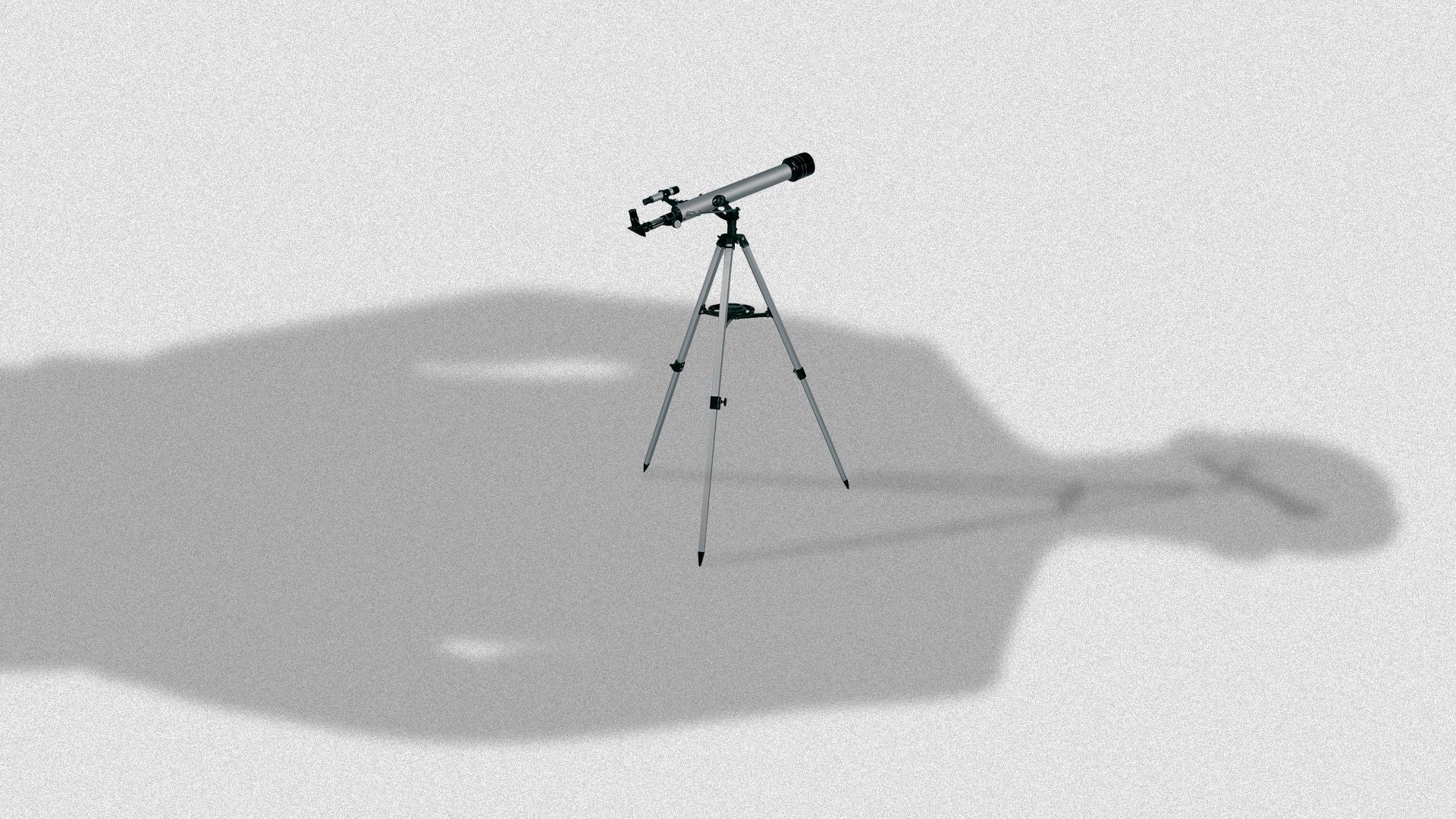 Illustration of a telescope being overshadowed by a person's outline.