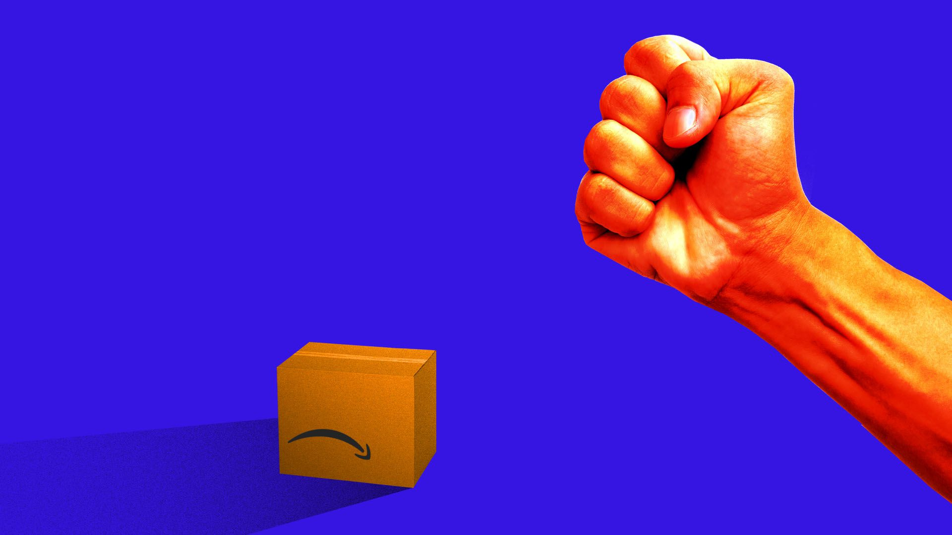 Illustration of fist shaking at sad Amazon box