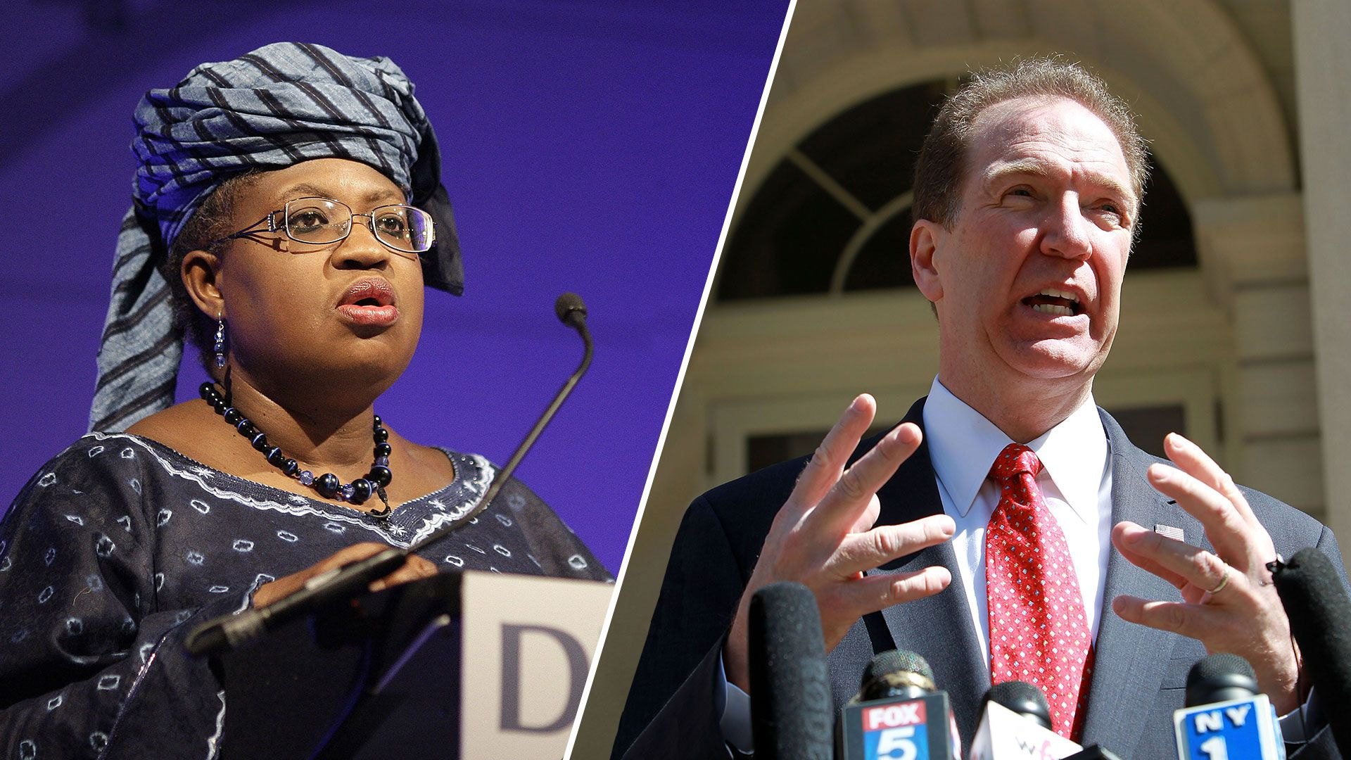 Photos of Ngozi Okonjo-Iweala and David Malpass