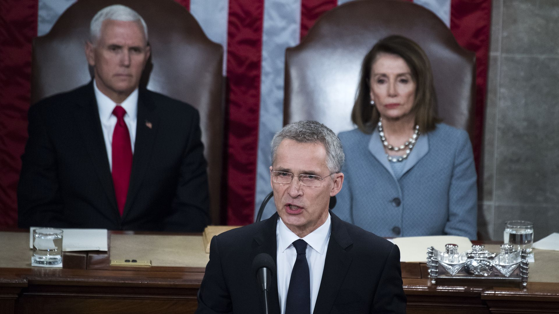 Jens Stoltenberg addressing Congress, with Nancy Pelosi and Mike Pence seated behind him