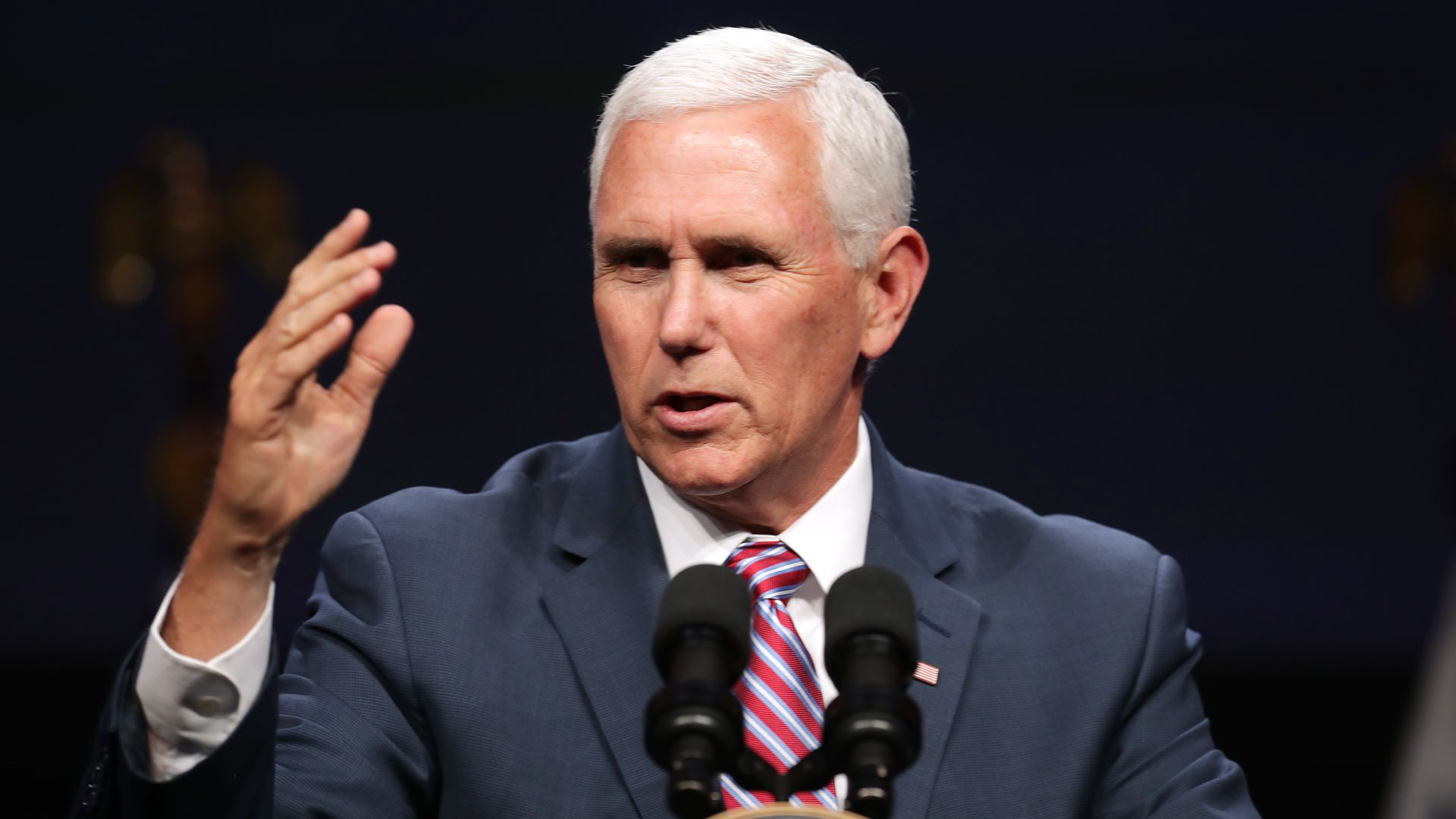 Vice President Mike Pence delivers a keynote address during Access Intelligence's Satellite 2019 Conference and Exhibition at the Walter E. Washington Convention Center in Washington, DC.