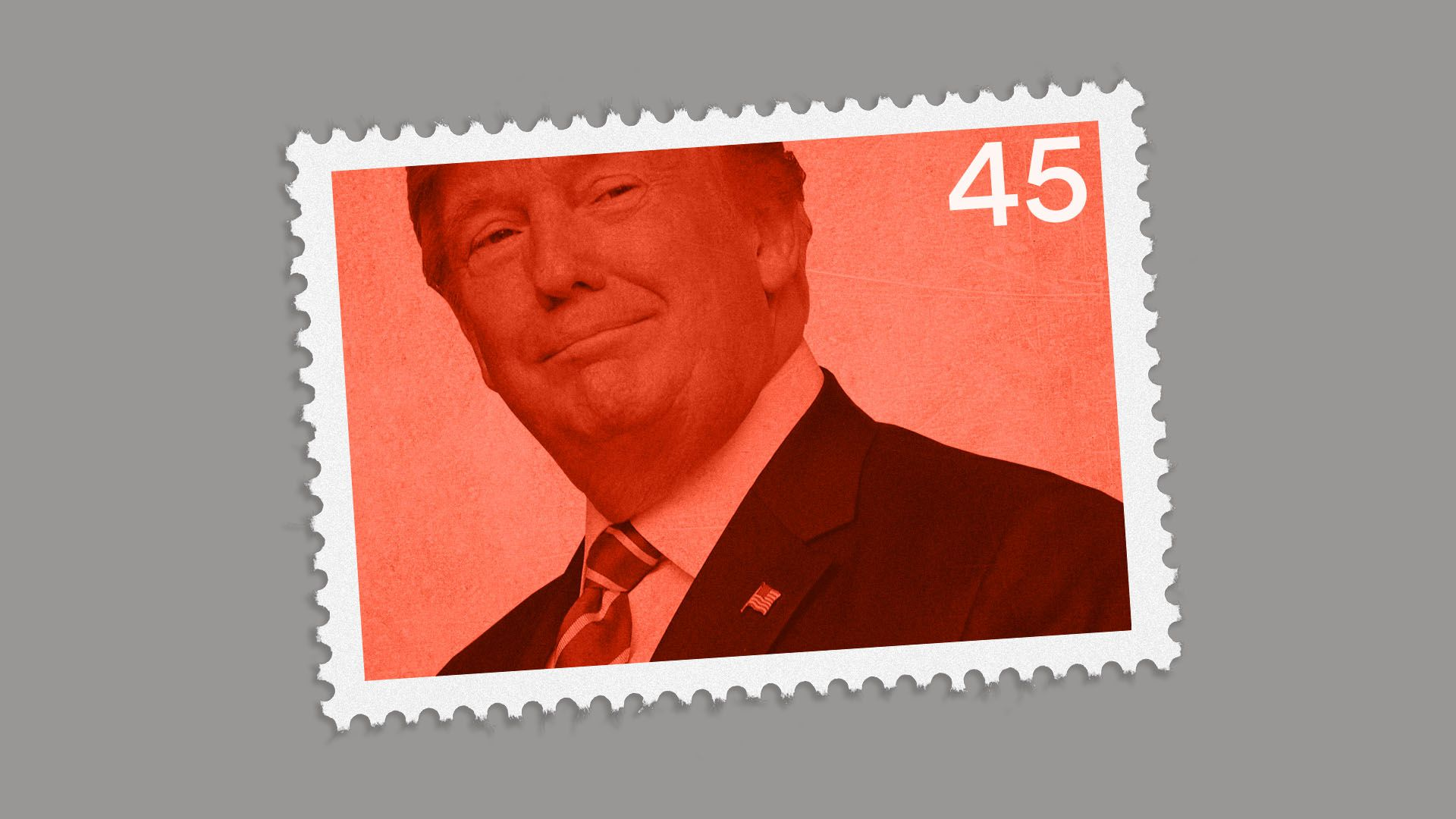 Illustration of a President Trump stamp