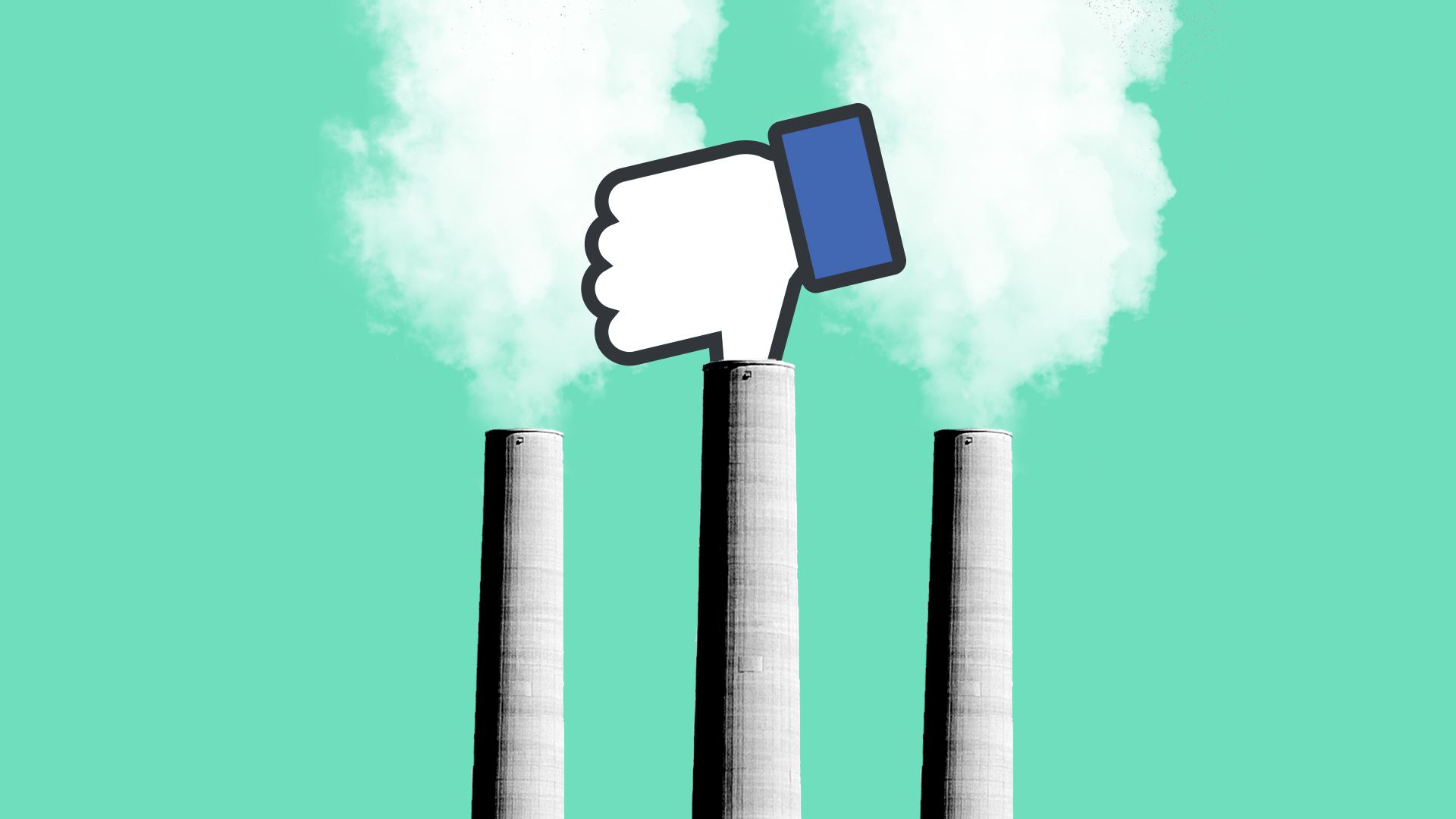 Illustration for story on Facebook pledge to expand its renewable energy use