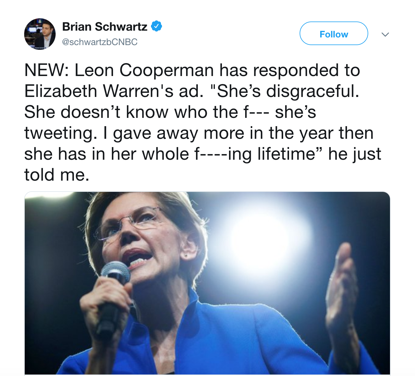 Screenshot of a tweet from CNBC reporter Brian Schwartz detailing text of his exchange with Leon Cooperman.