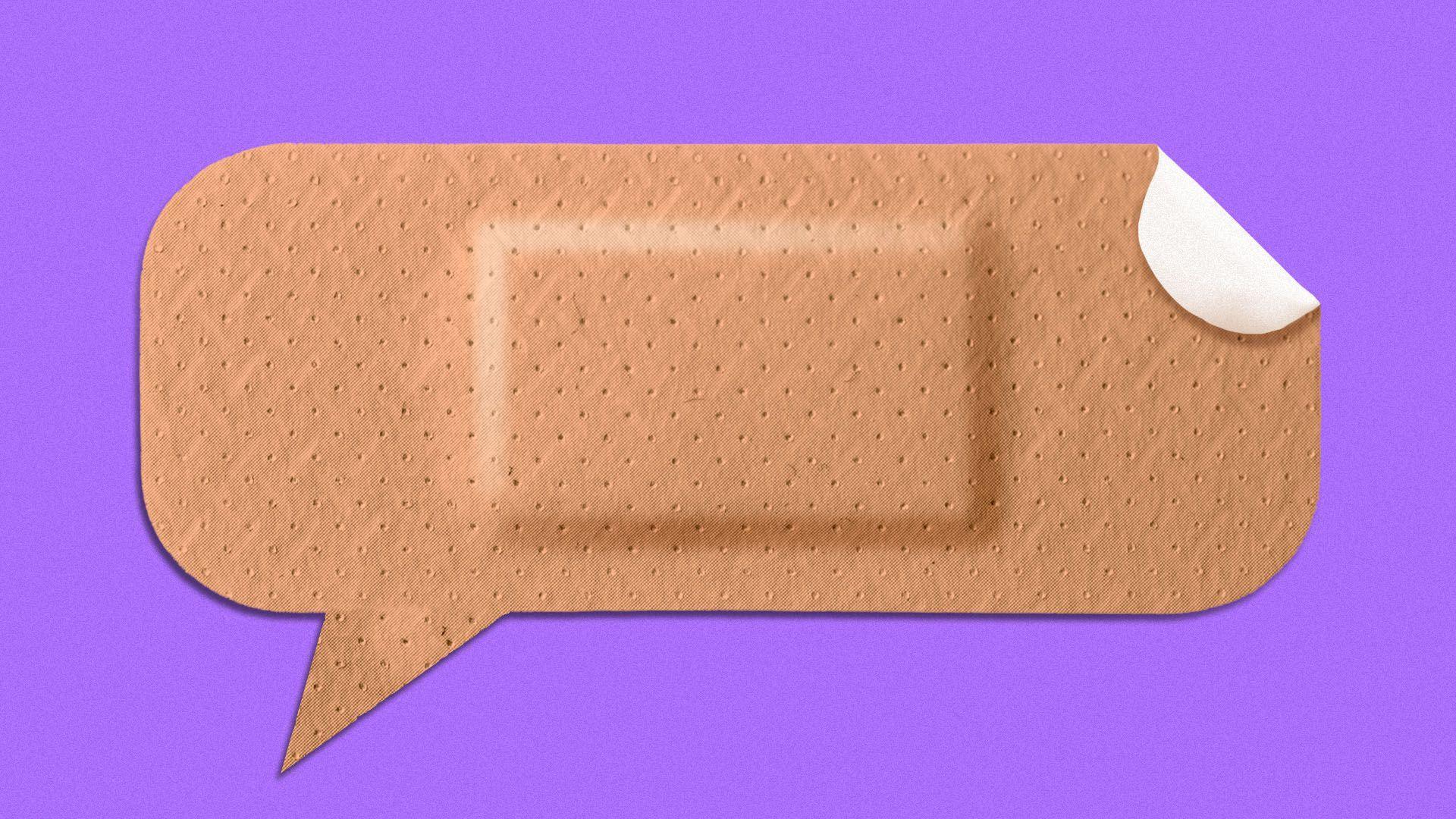 Illustration of a band aid shaped like a speech bubble