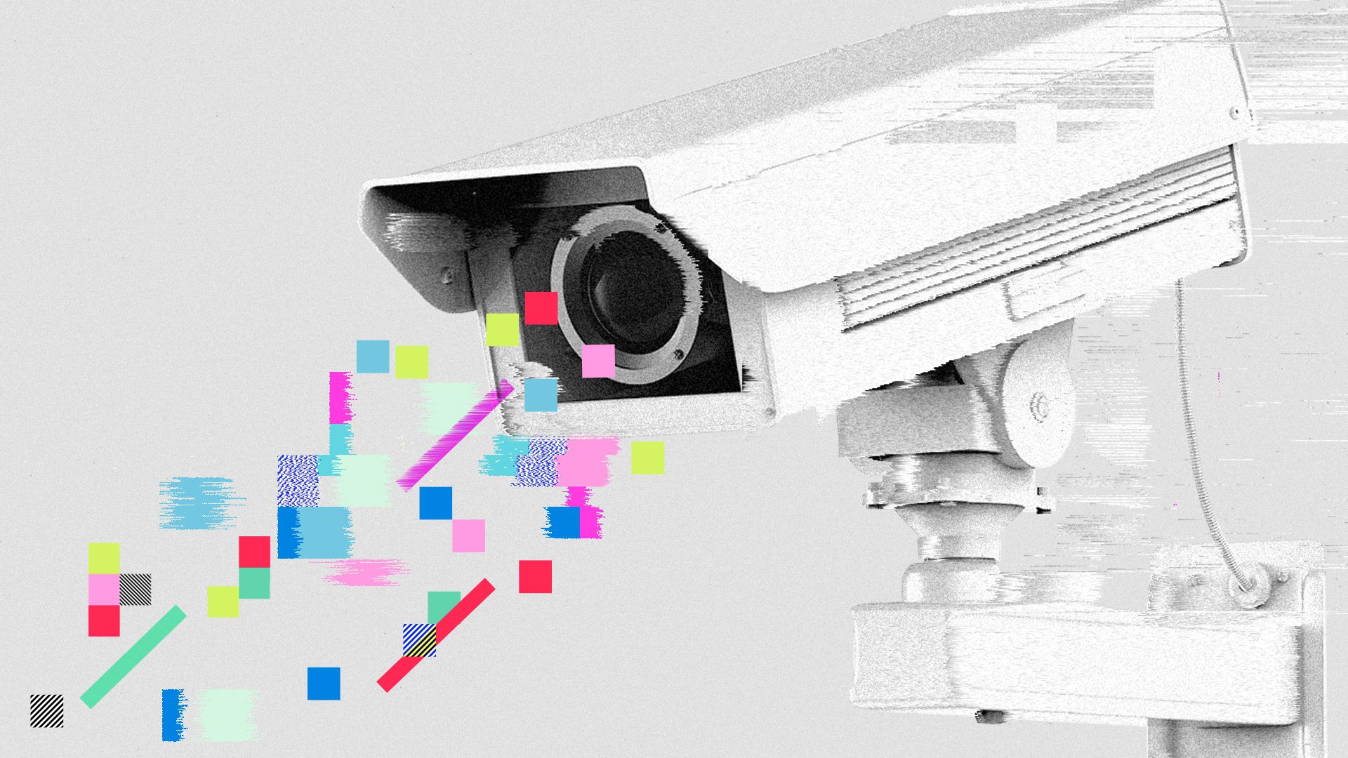 Illustration of a security camera interrupted by cubes and glitches