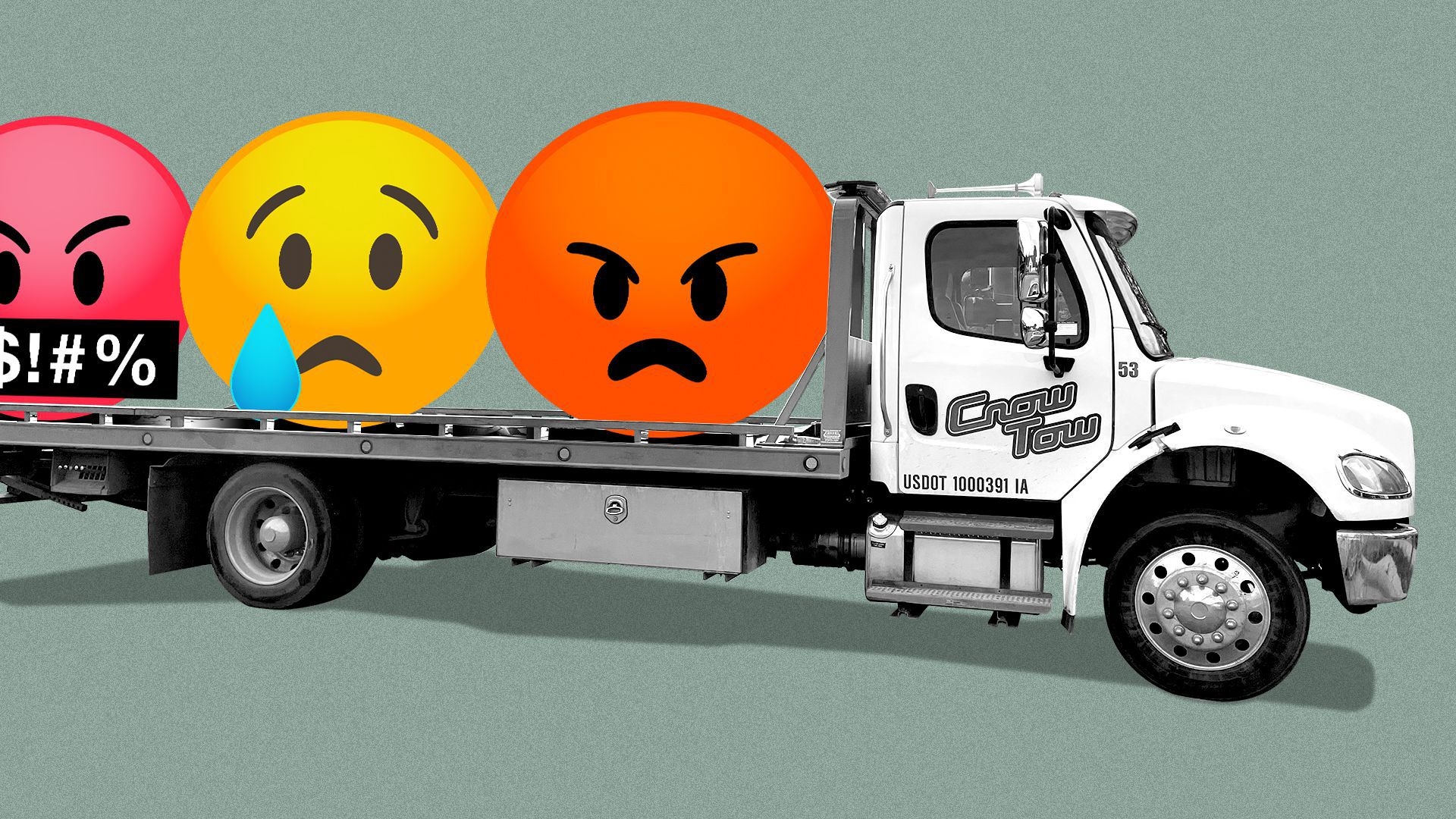 Photo illustration of a Crow Tow tow truck carrying three emojis, one angry, one sad and one swearing.
