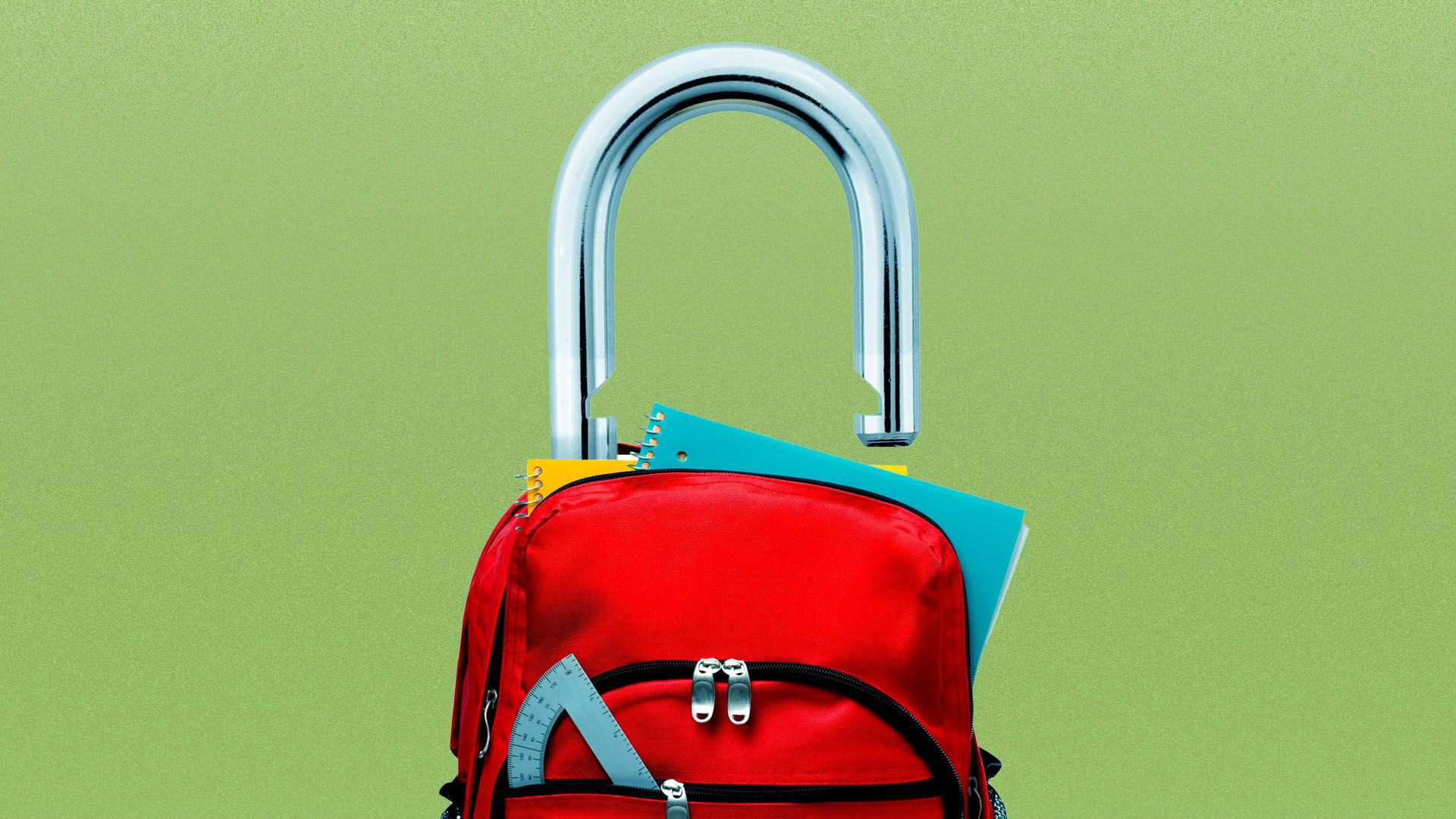Illustration of a backpack with an open lock coming out of the top