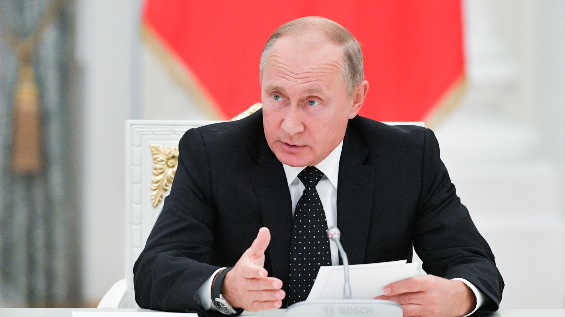 Russia's President Vladimir Putin speaks during a meeting with the newly elected regional leaders at the Moscow Kremlin.