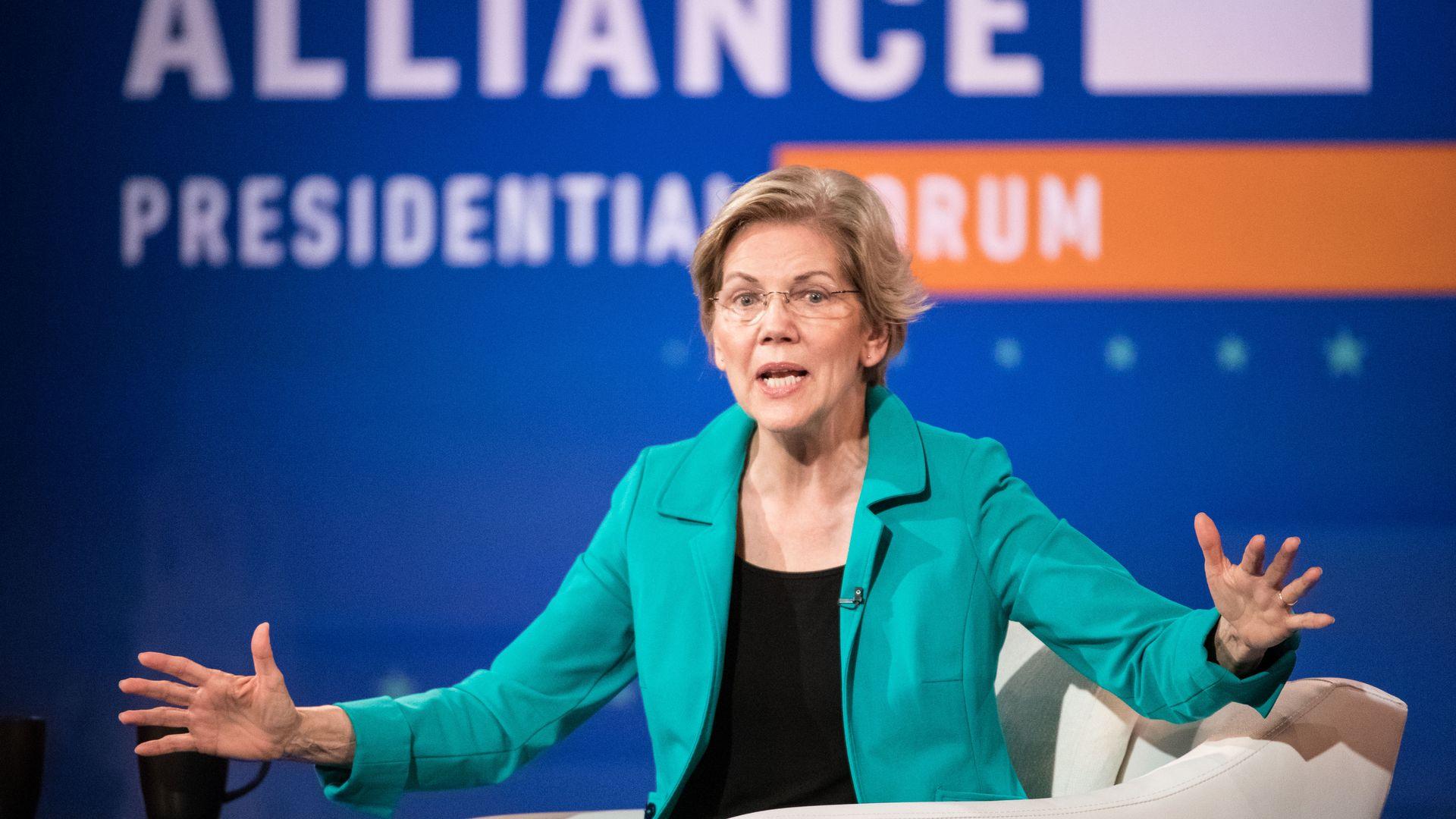 Democratic presidential candidate Sen. Elizabeth Warren (D-MA) participates in the Black Economic Alliance Forum at the Charleston Music Hall on June 15, 2019 in Charleston, South Carolina.