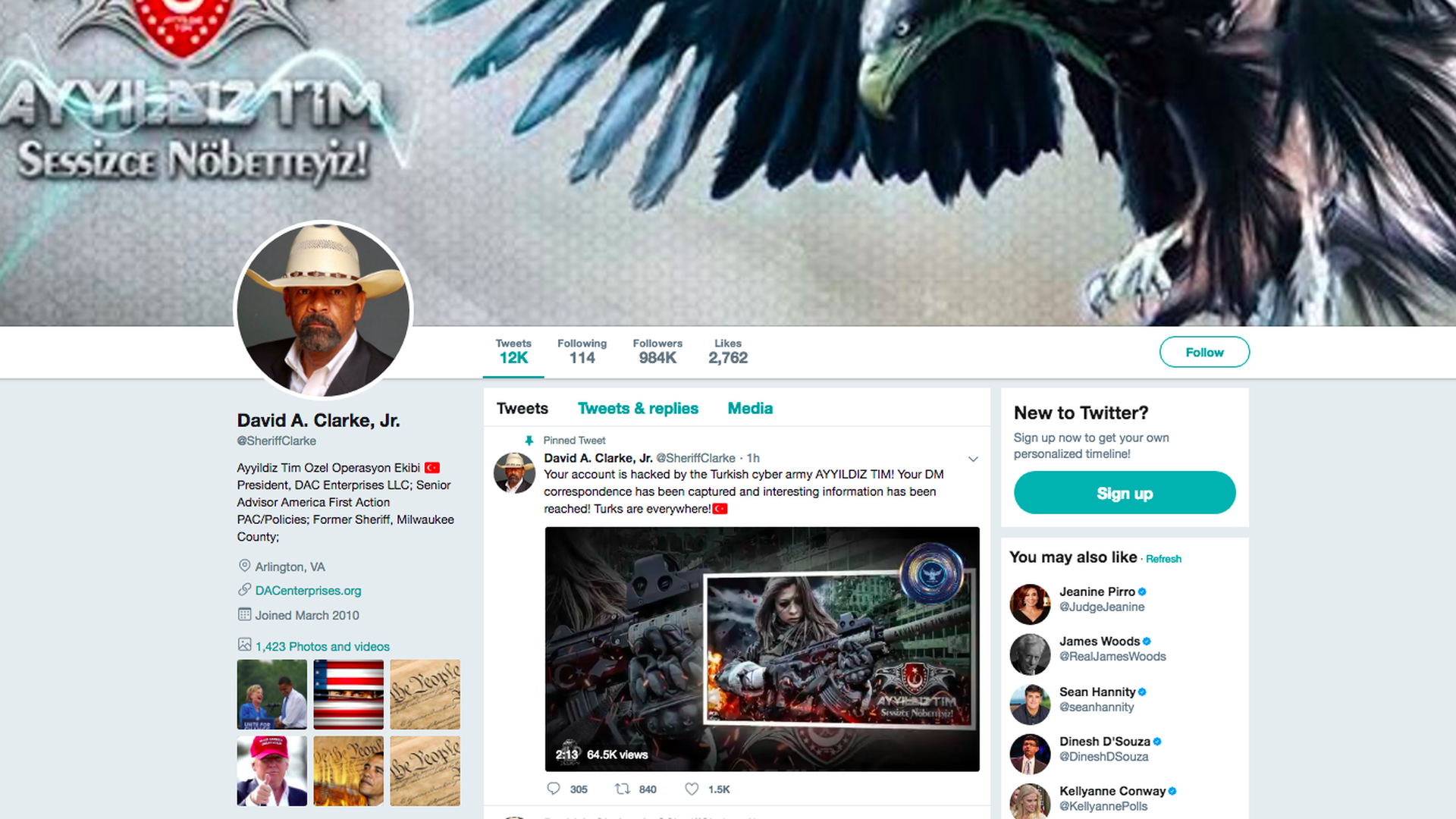 A screenshot of David A. Clarke's hacked Twitter