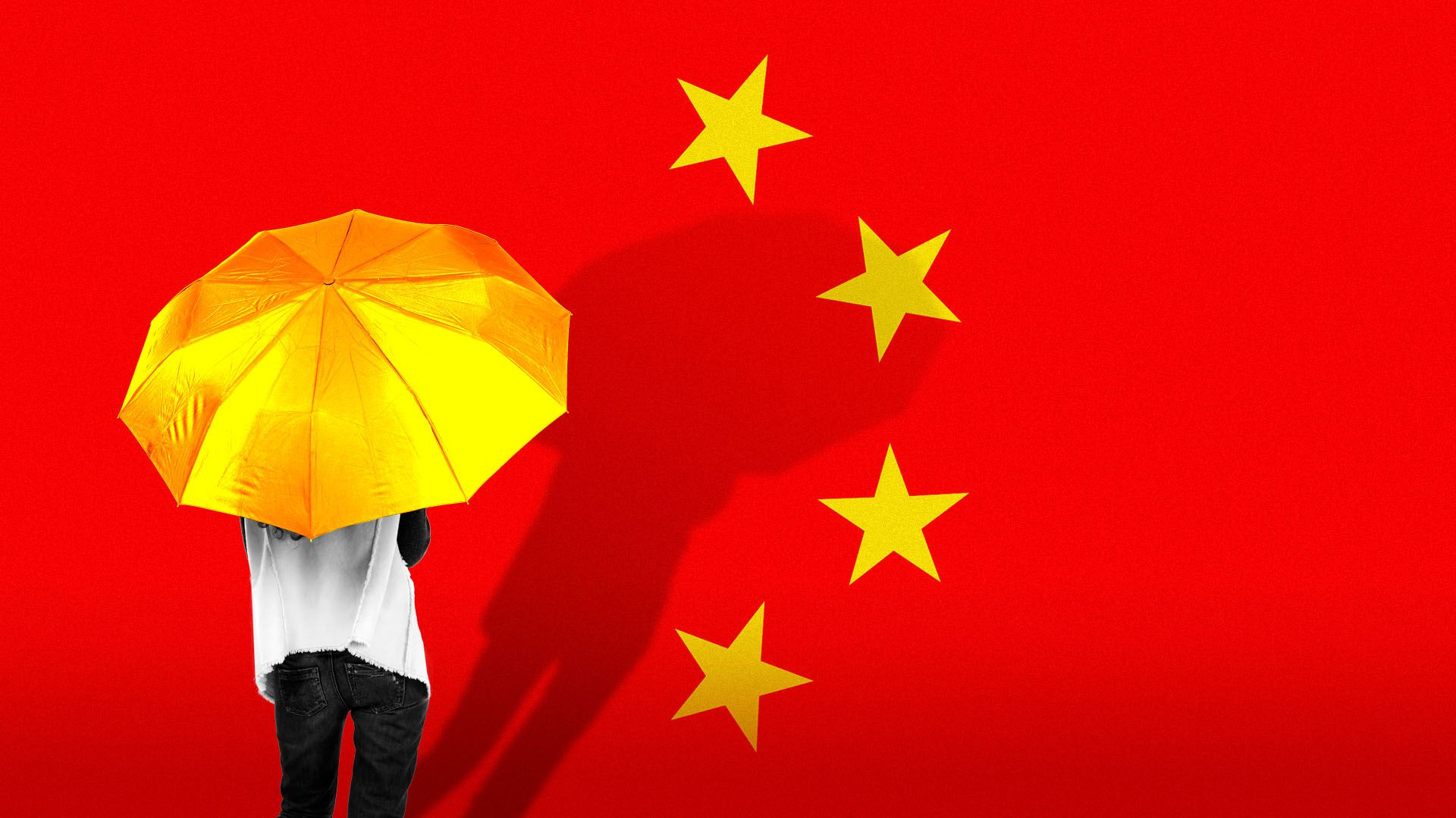 Illustration of the Chinese flag with a Hong Kong umbrella movement protestor standing over the biggest star