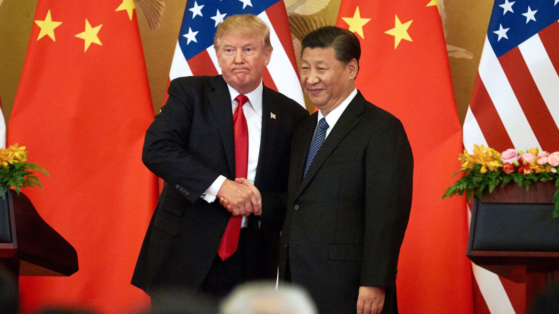 President Trump shakes hands with China's President Xi Jinping