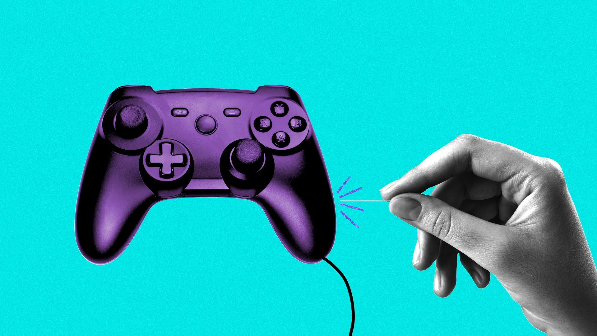 Illustration of a video game controller popping