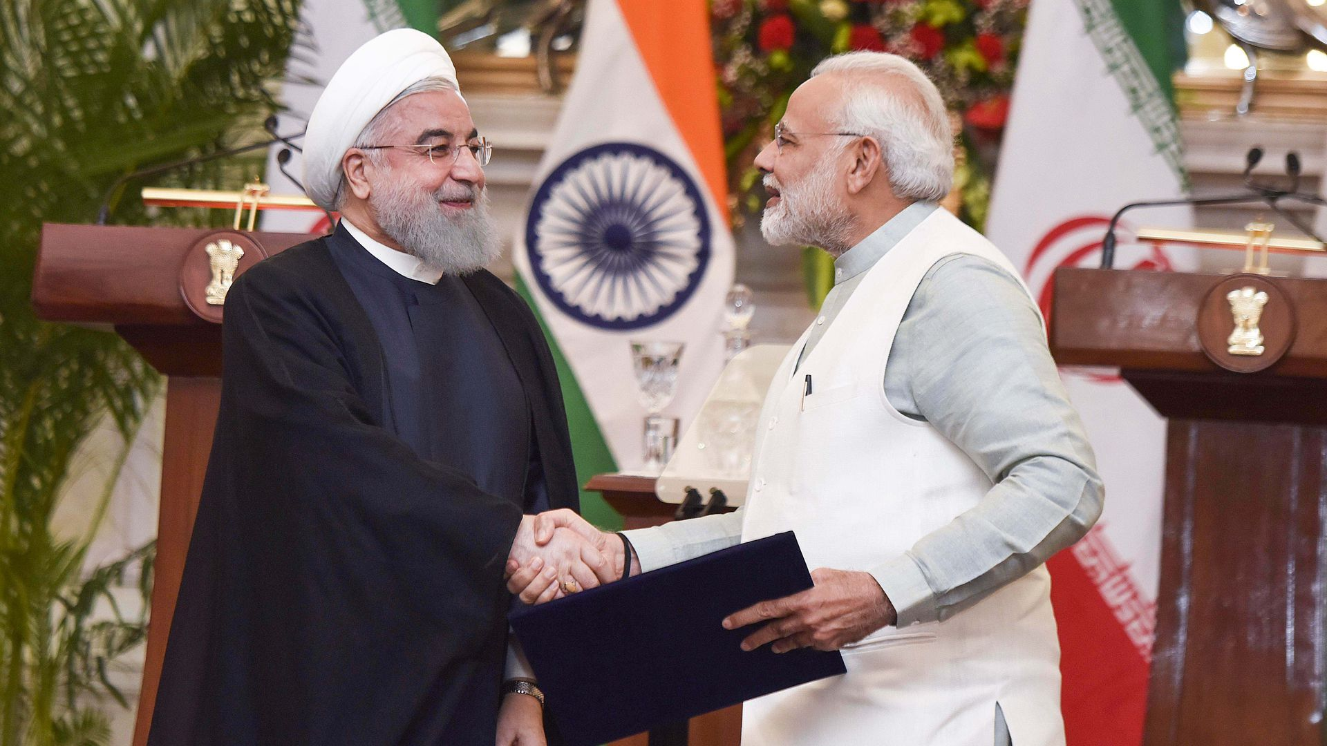 Iran President Dr. Hassan Rouhani with PM Narendra Modi after releasing commemorative stamp at Hyderabad House, on February 17, 2018 in New Delhi