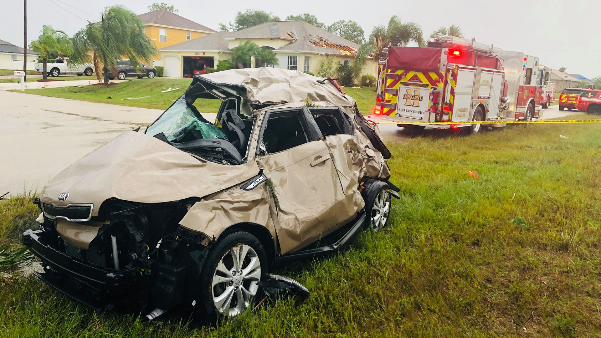 A tornado spawned by Tropical Storm Nestor damaged this car in Cape Coral, Florida, on Saturday, Oct. 19, 2019.