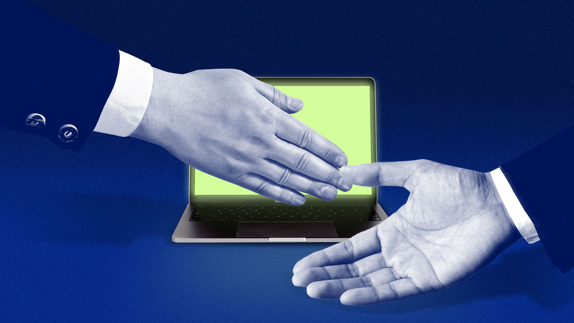 Illustration of a one hand trying to cover a laptop screen while another presents it to the viewer