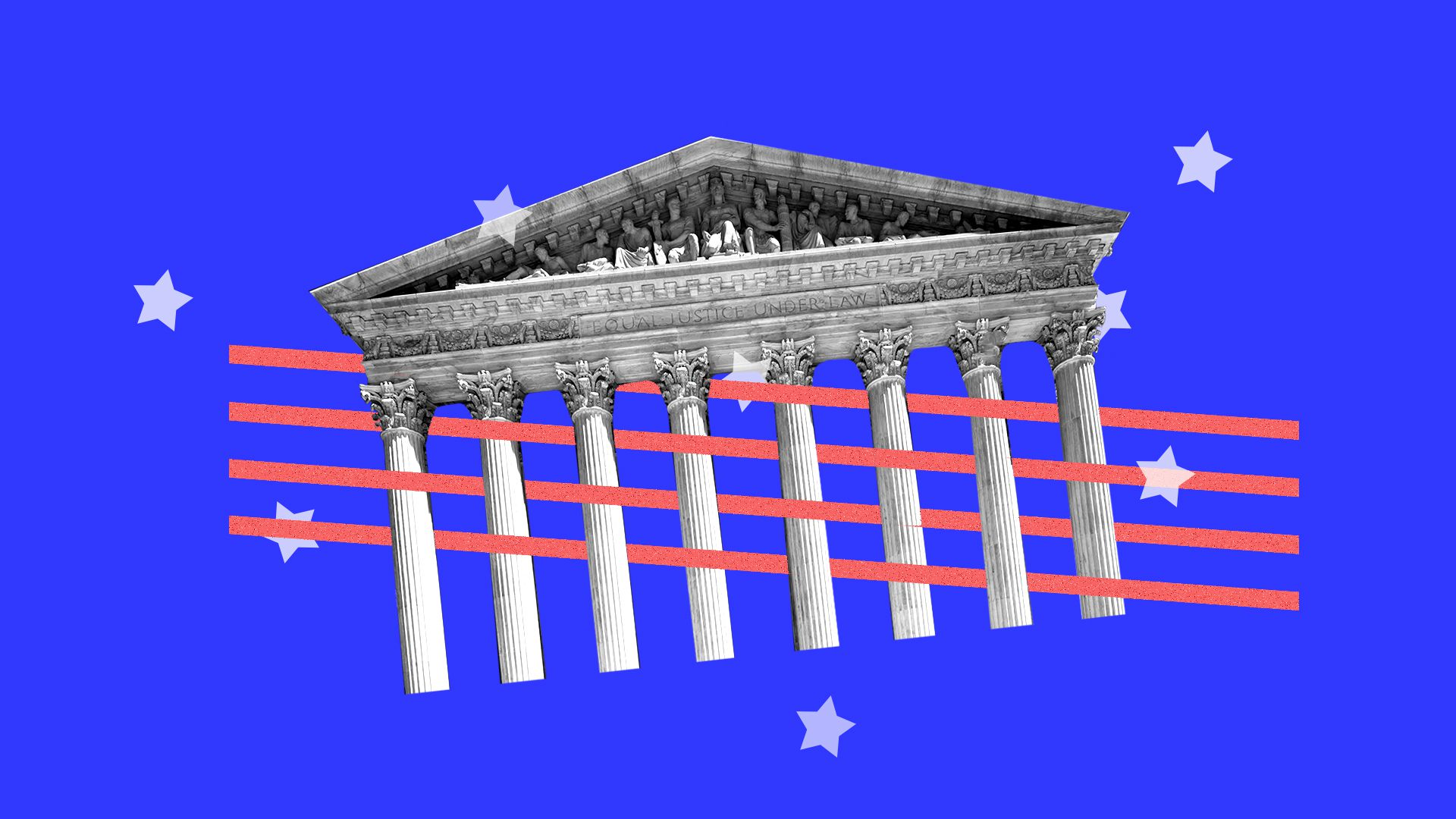 Illustration of the supreme court intertwined with elements from an American flag