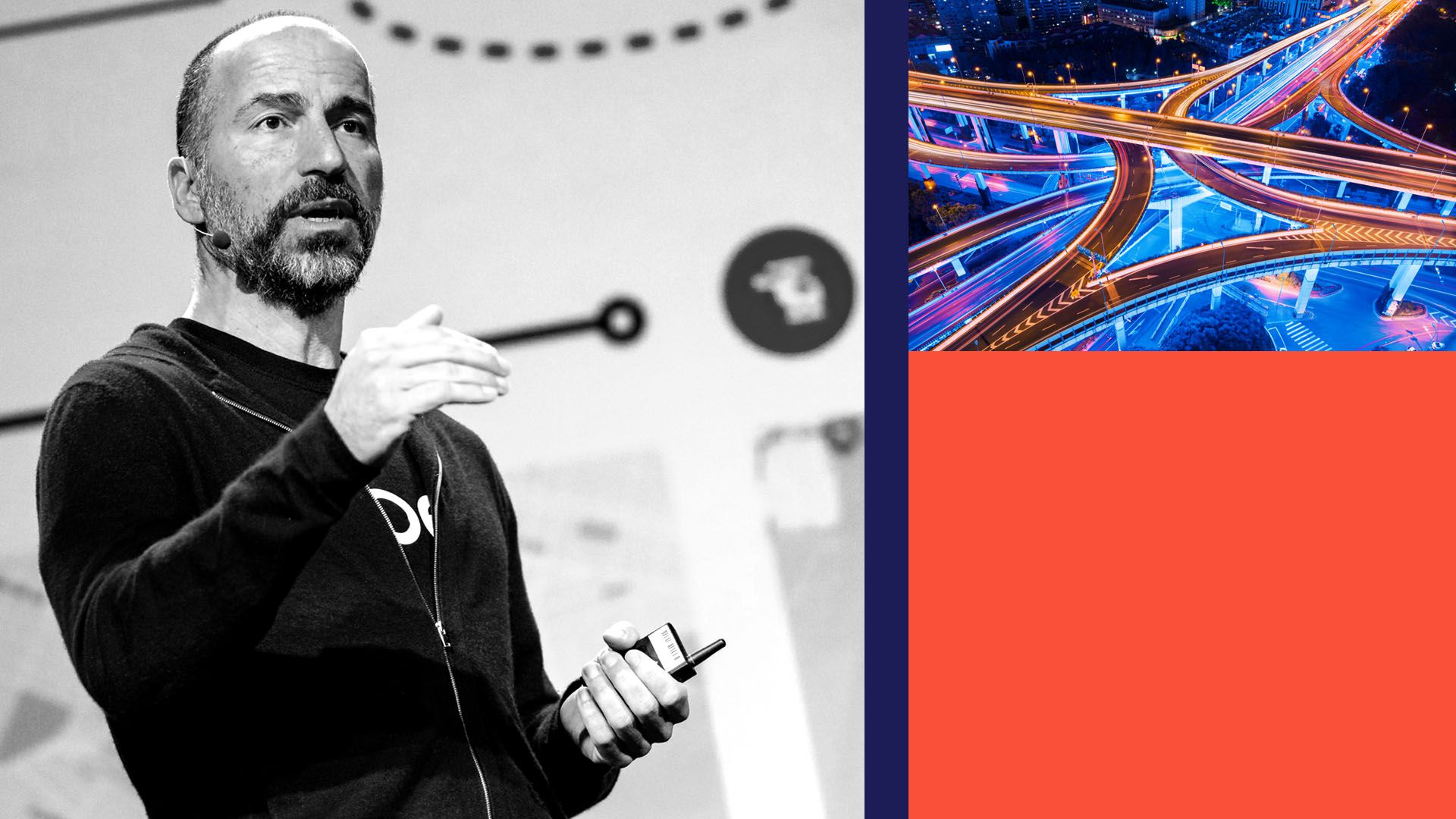 Photo illustration of Uber CEO Dara Khosrowshahi with an image of a highway and blocks of color.