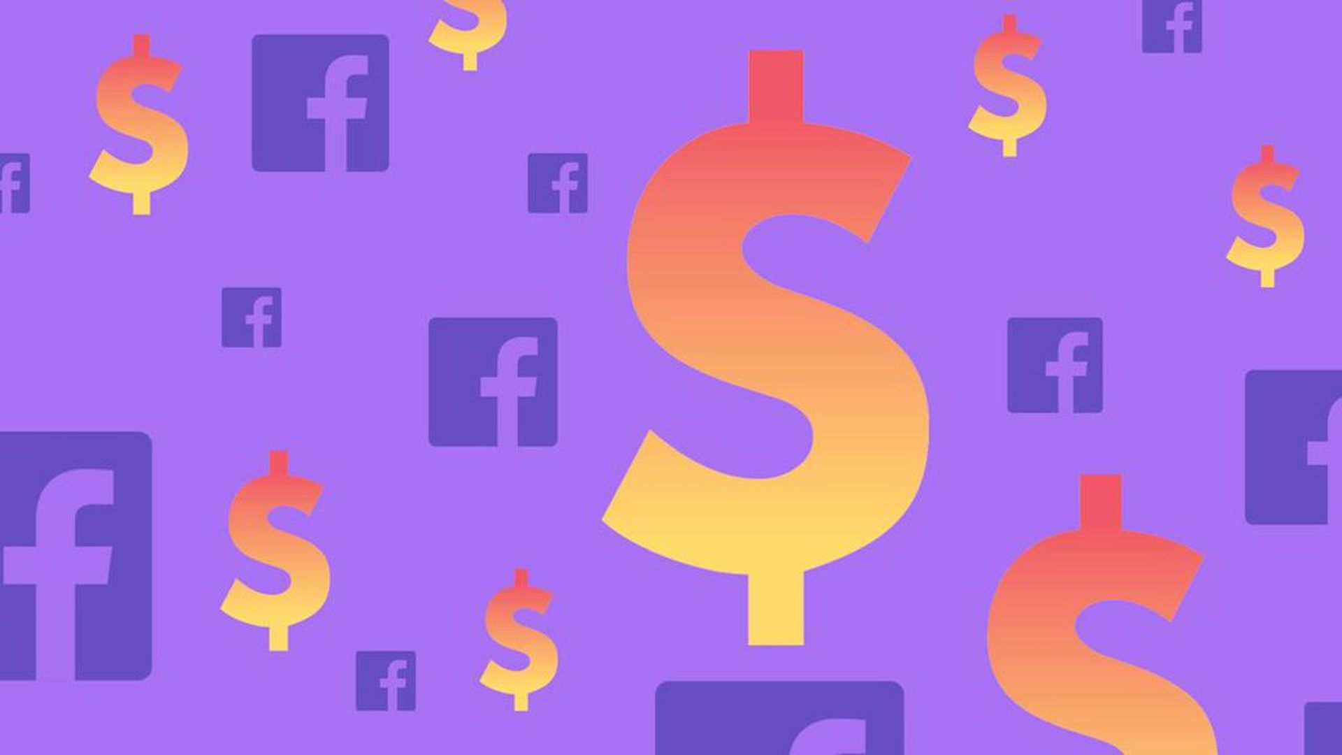 Illustration of Facebook logos floating in a sea of dollar signs