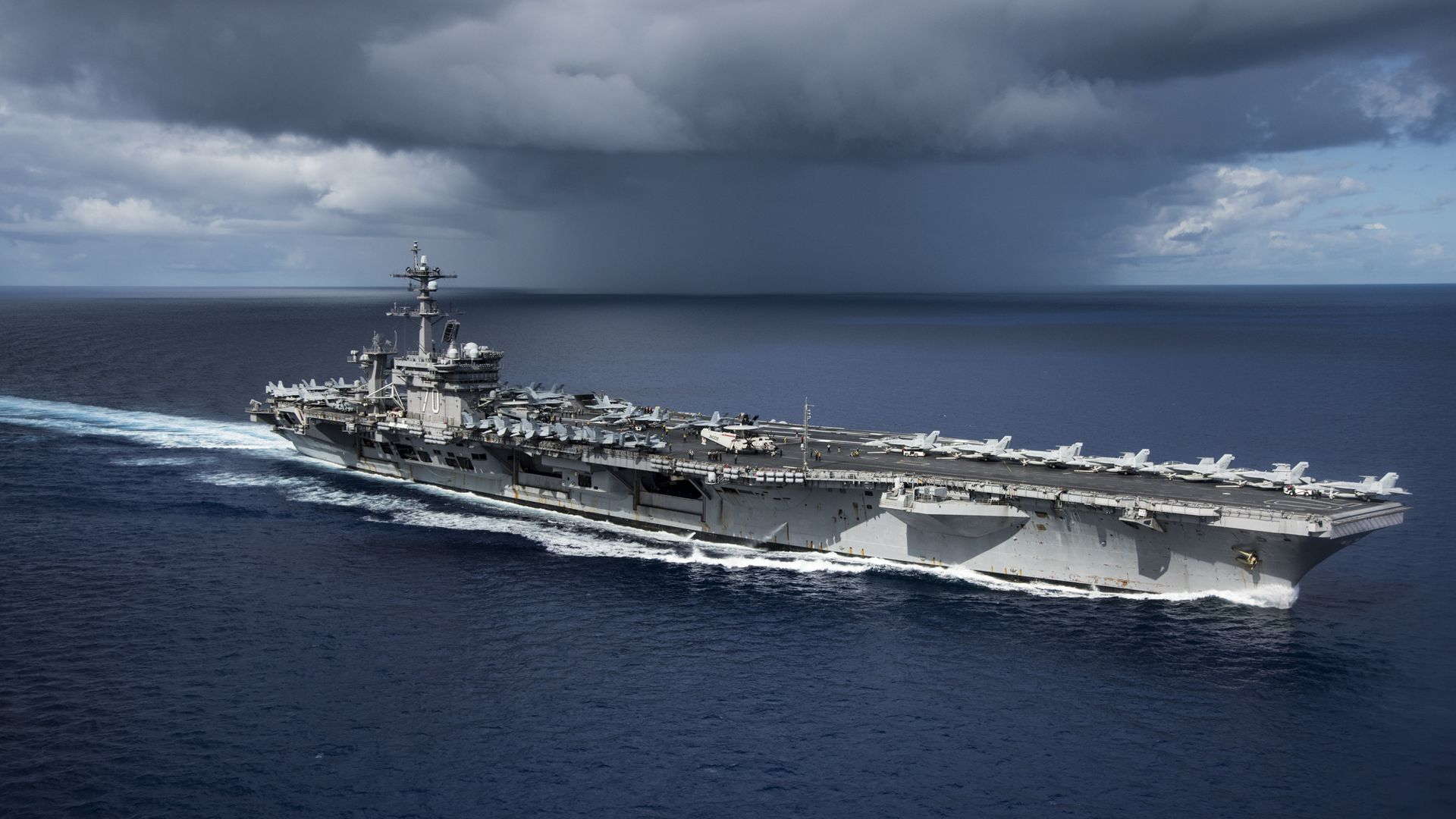 U.S. Navy aircraft carrier in the Pacific Ocean